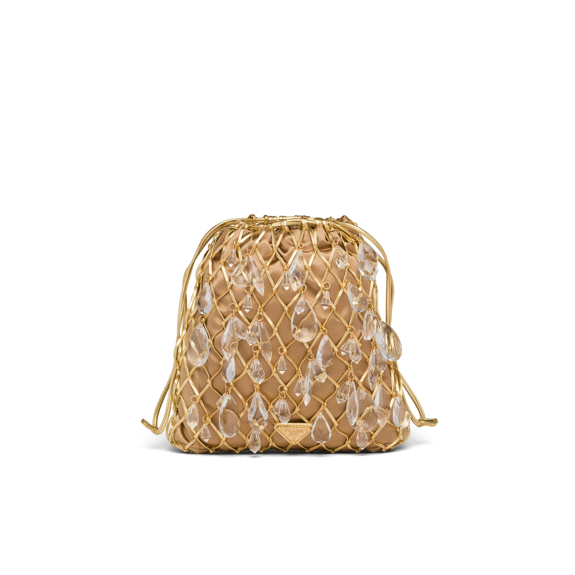 Leather Mesh And Satin Clutch Women Gold 0