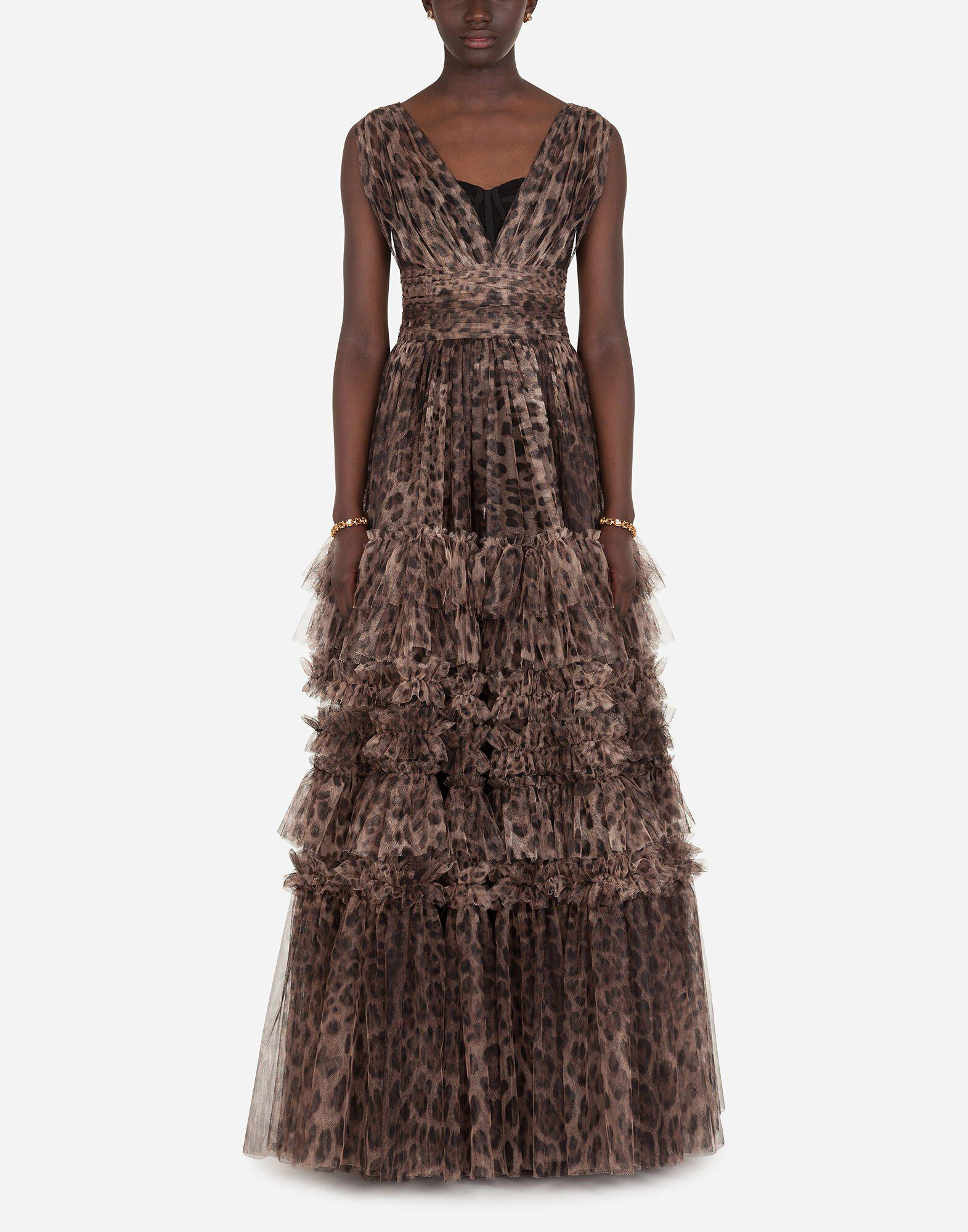 Long tulle dress with leopard print