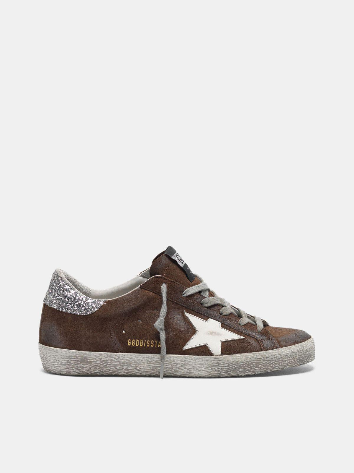 Suede Super-Star sneakers with glittery heel tab 0