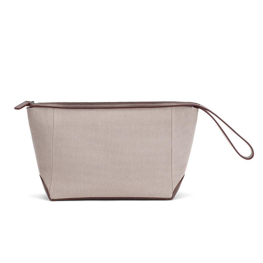 Women's Travel Zipper Pouch in Soft Grey/Dark Brown | Canvas & Smooth Leather by Cuyana