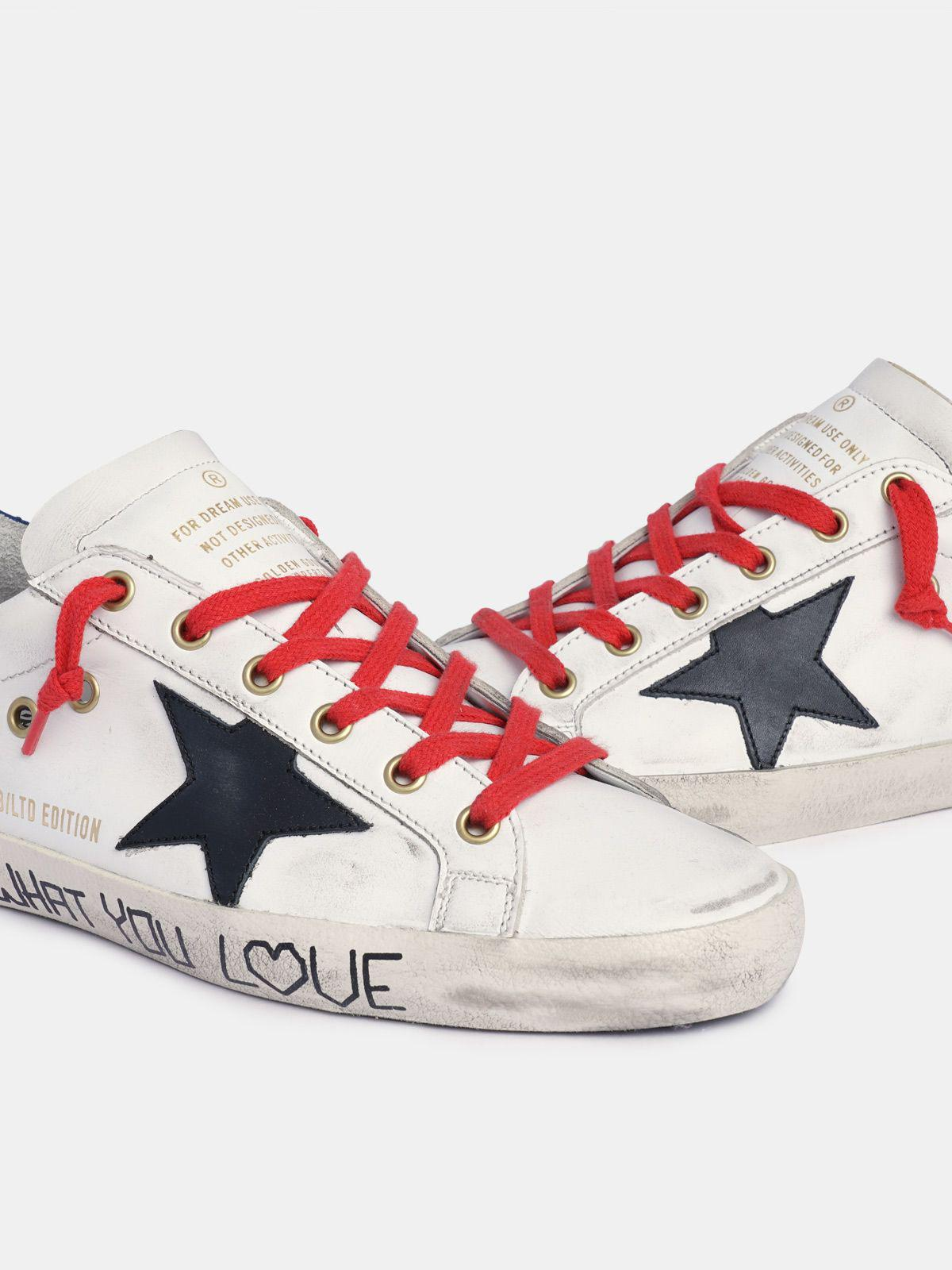 Super-Star sneakers in white leather with black star and blue heel tab 3