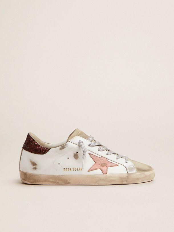 Super-Star sneakers with brown glitter heel tab and pink crackled leather star
