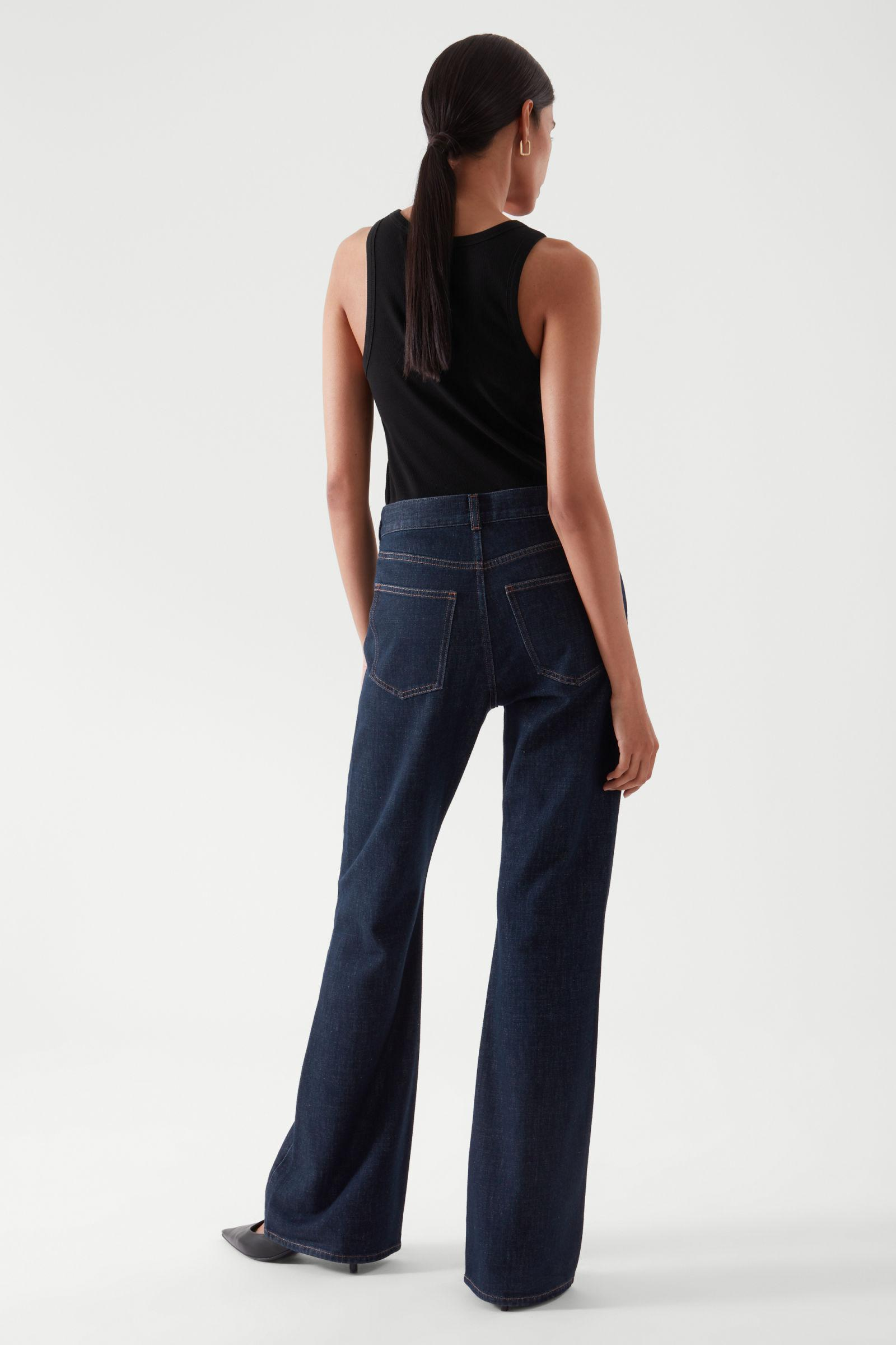 FLARED RECYCLED COTTON DENIM PANTS 4