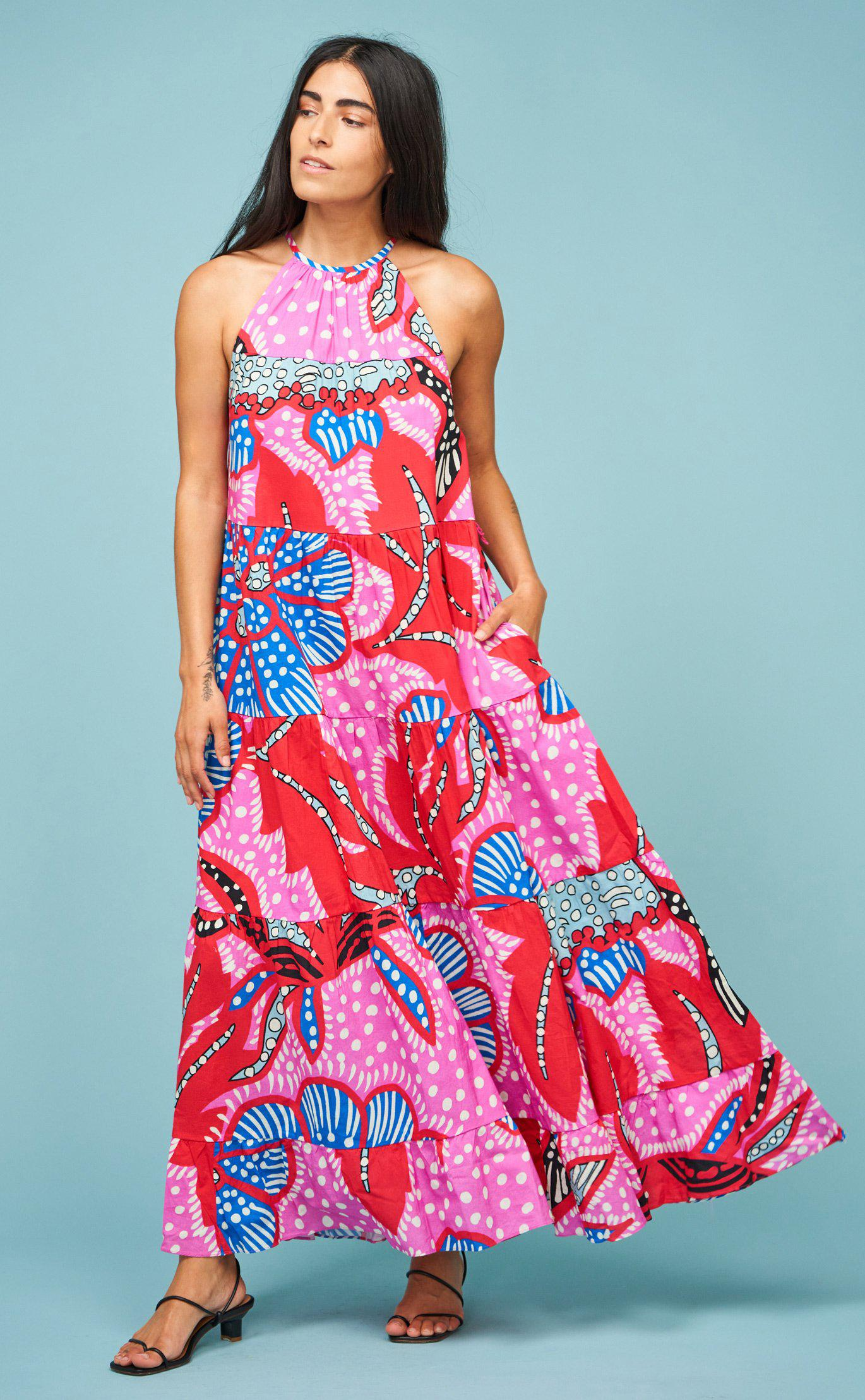 Julia Dress | Red Psychedelic Flower