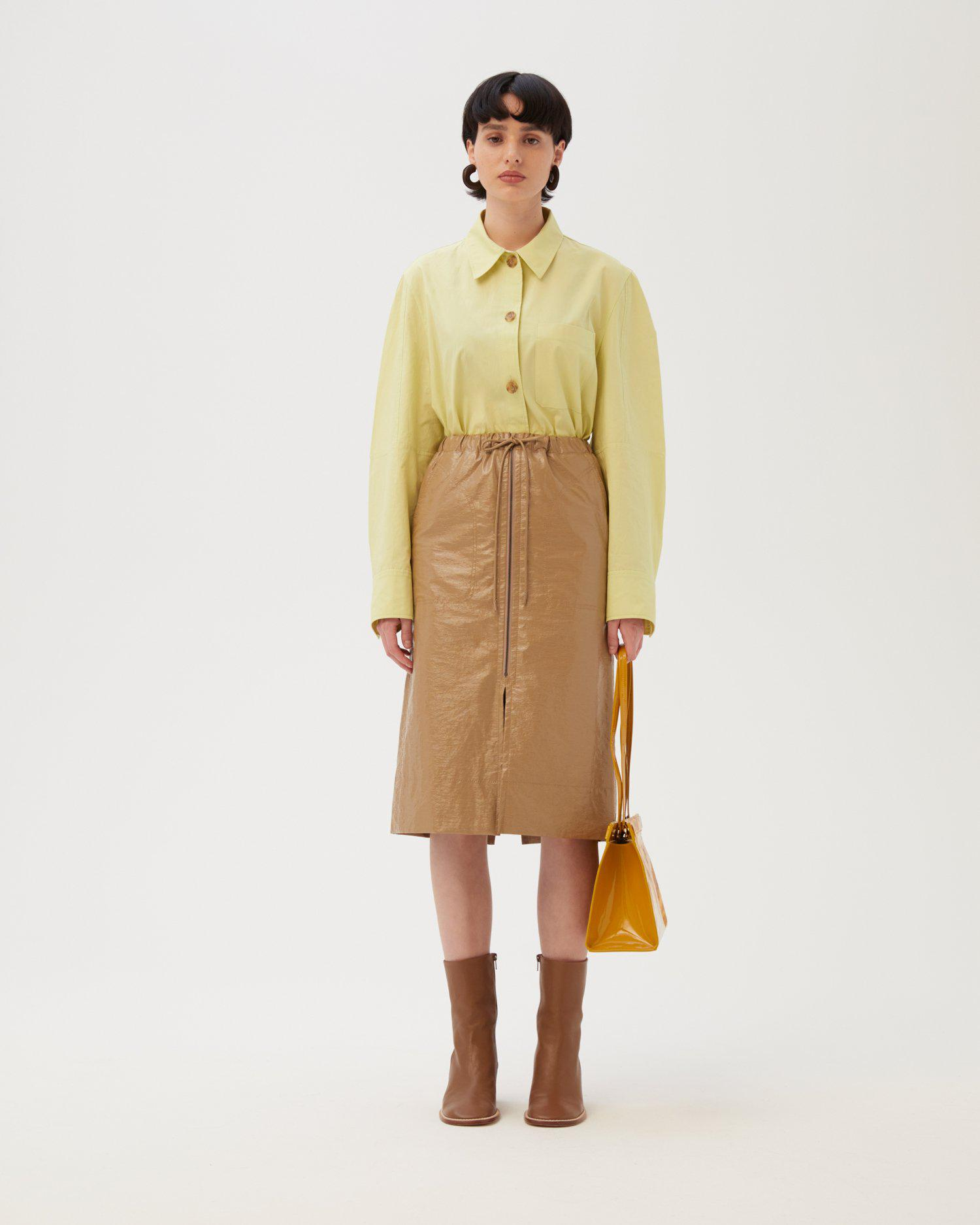 Leila Skirt Patent Faux Leather Sand