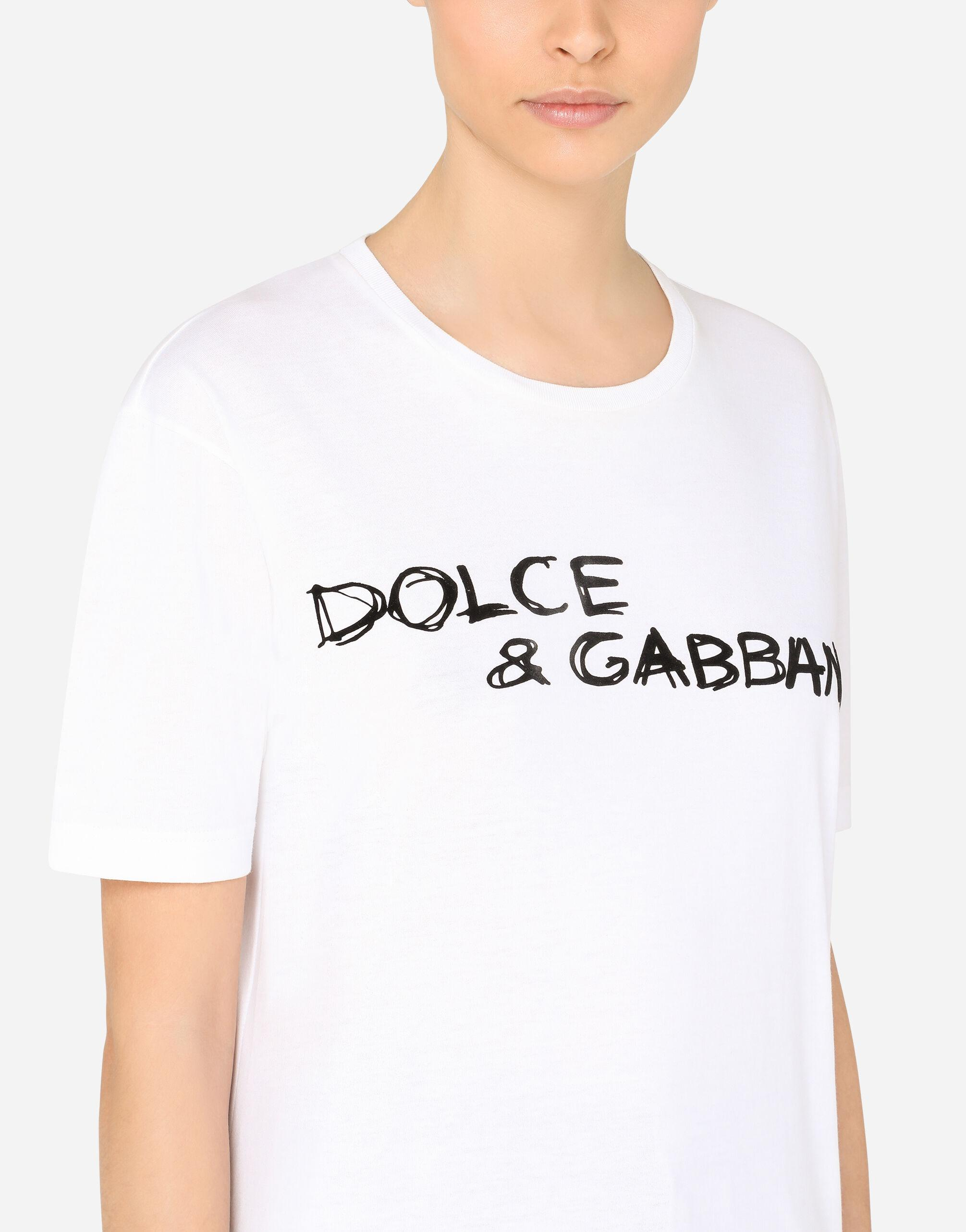 Oversize short-sleeved jersey T-shirt with Dolce & Gabbana lettering 3