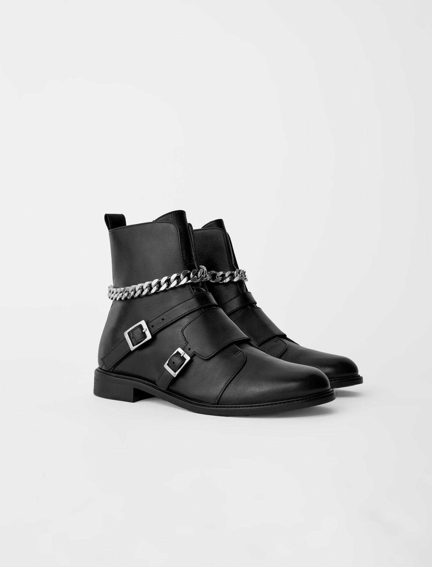 FLAT ANKLE BOOTS WITH STRAPS AND CHAIN 2