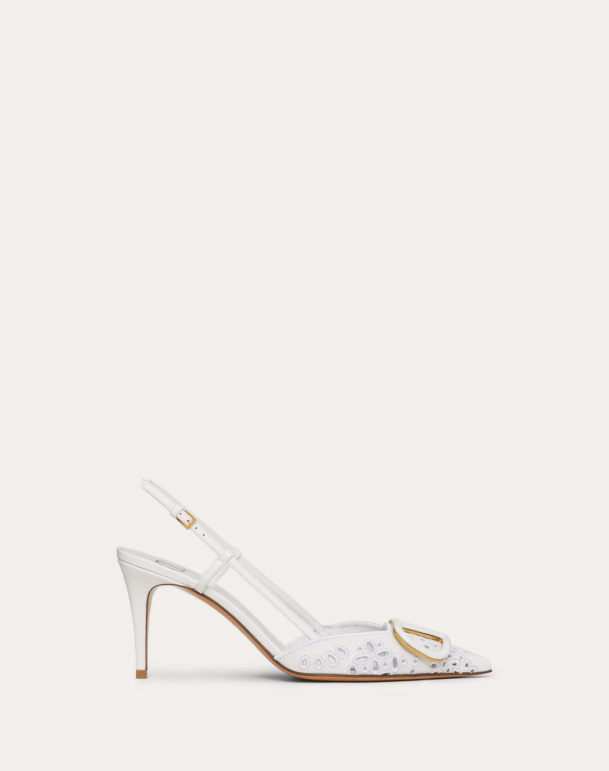 VLOGO SIGNATURE CALFSKIN SLINGBACK PUMP WITH SAN GALLO EMBROIDERY 80 MM