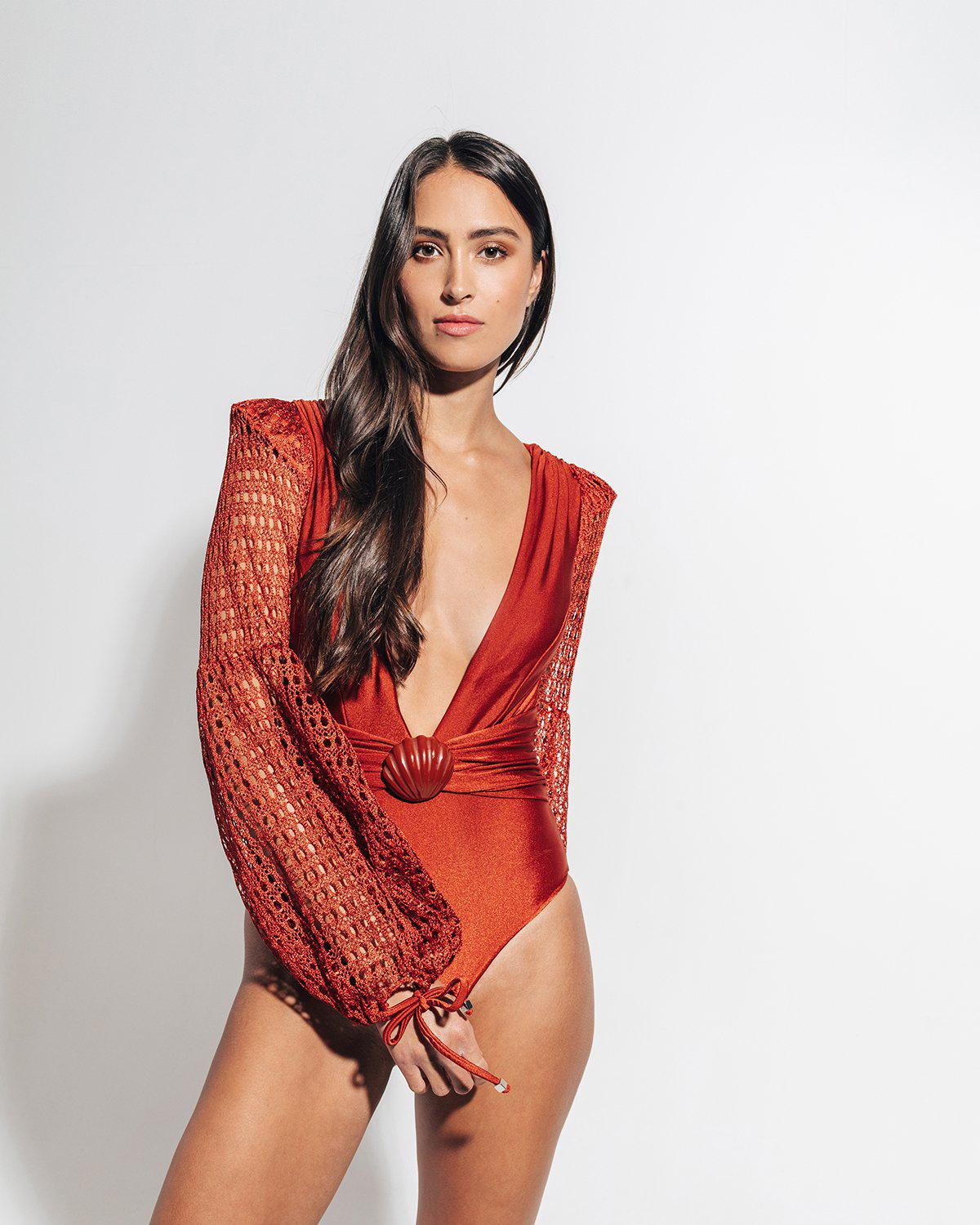 NETTED SLEEVE SWIMSUIT 2