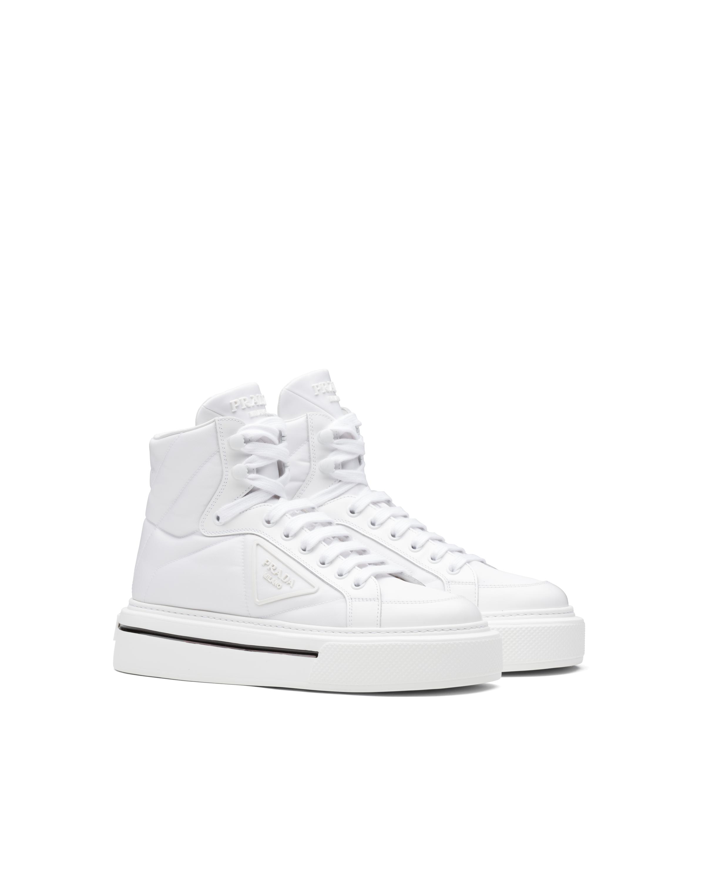 Macro Re-nylon And Brushed Leather High-top Sneakers Women White 5