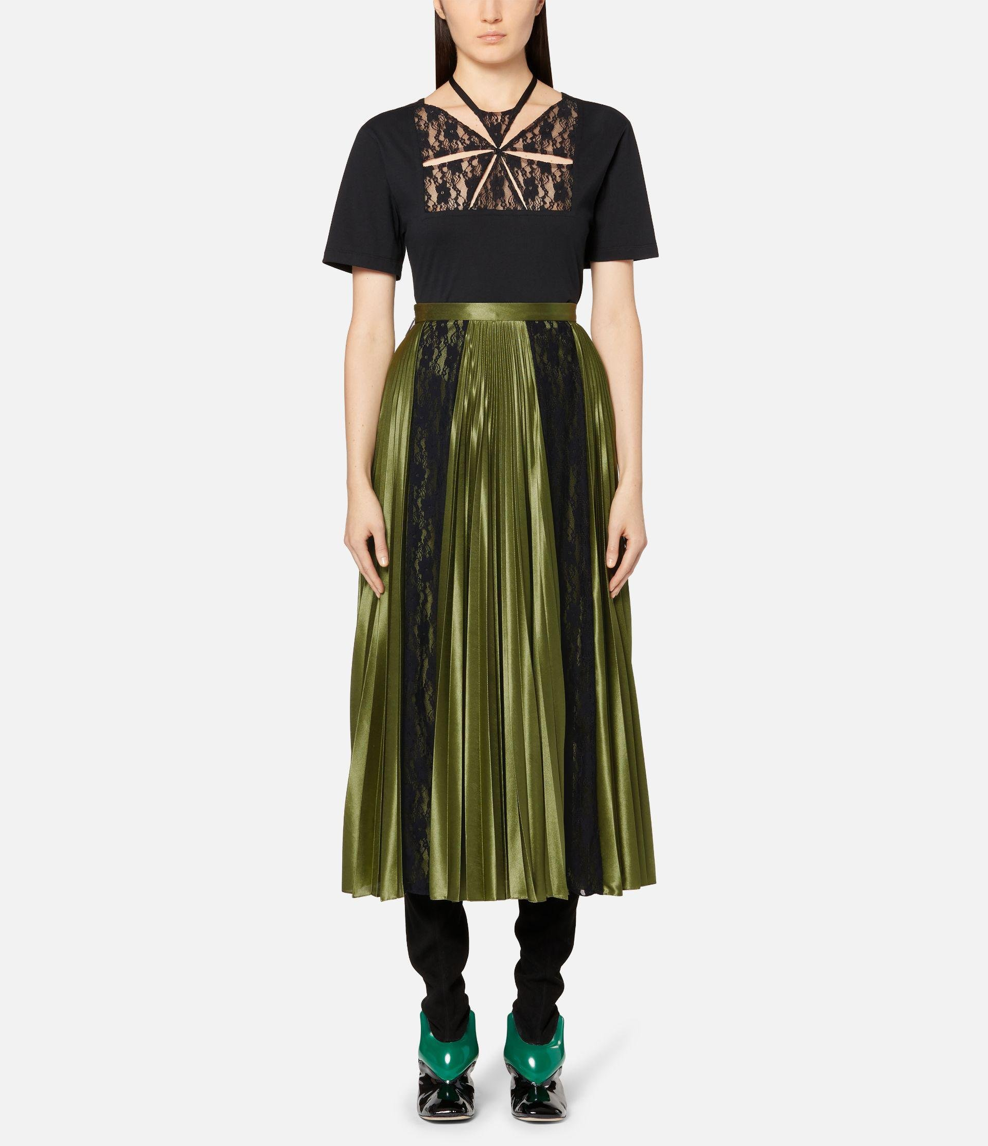lace panelled pleated skirt