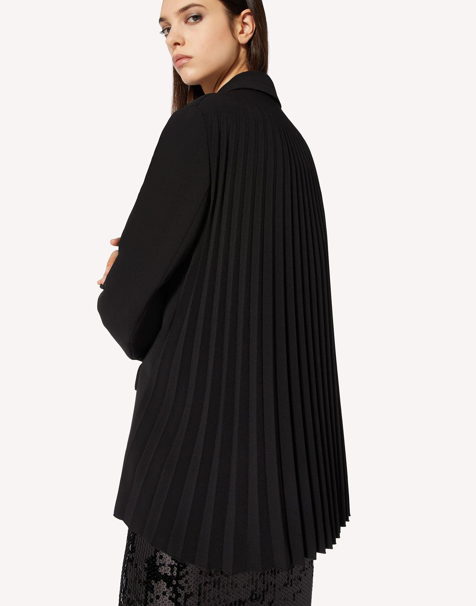 STRETCH CADY DOUBLE-BREASTED JACKET WITH PLEATED DETAIL 3