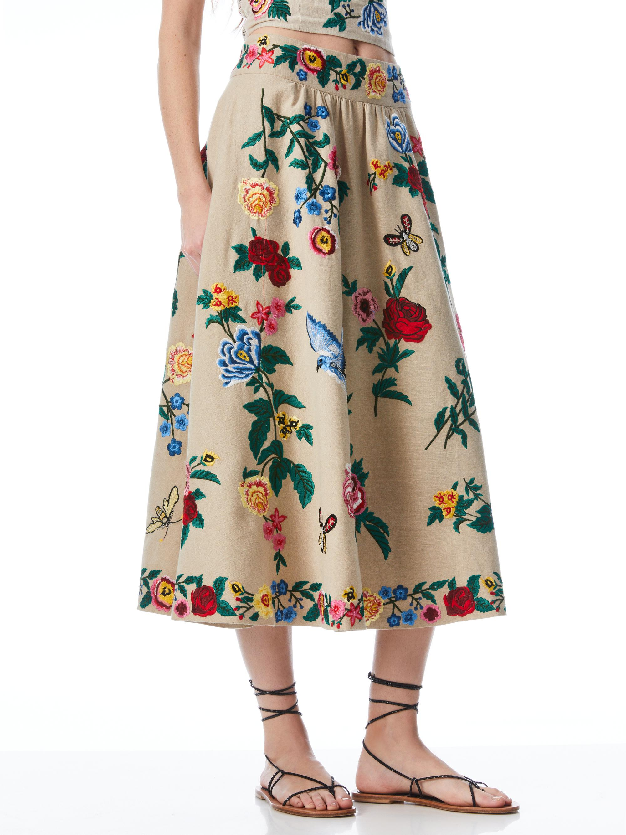 EARLA FLORAL EMBROIDERED MIDI SKIRT