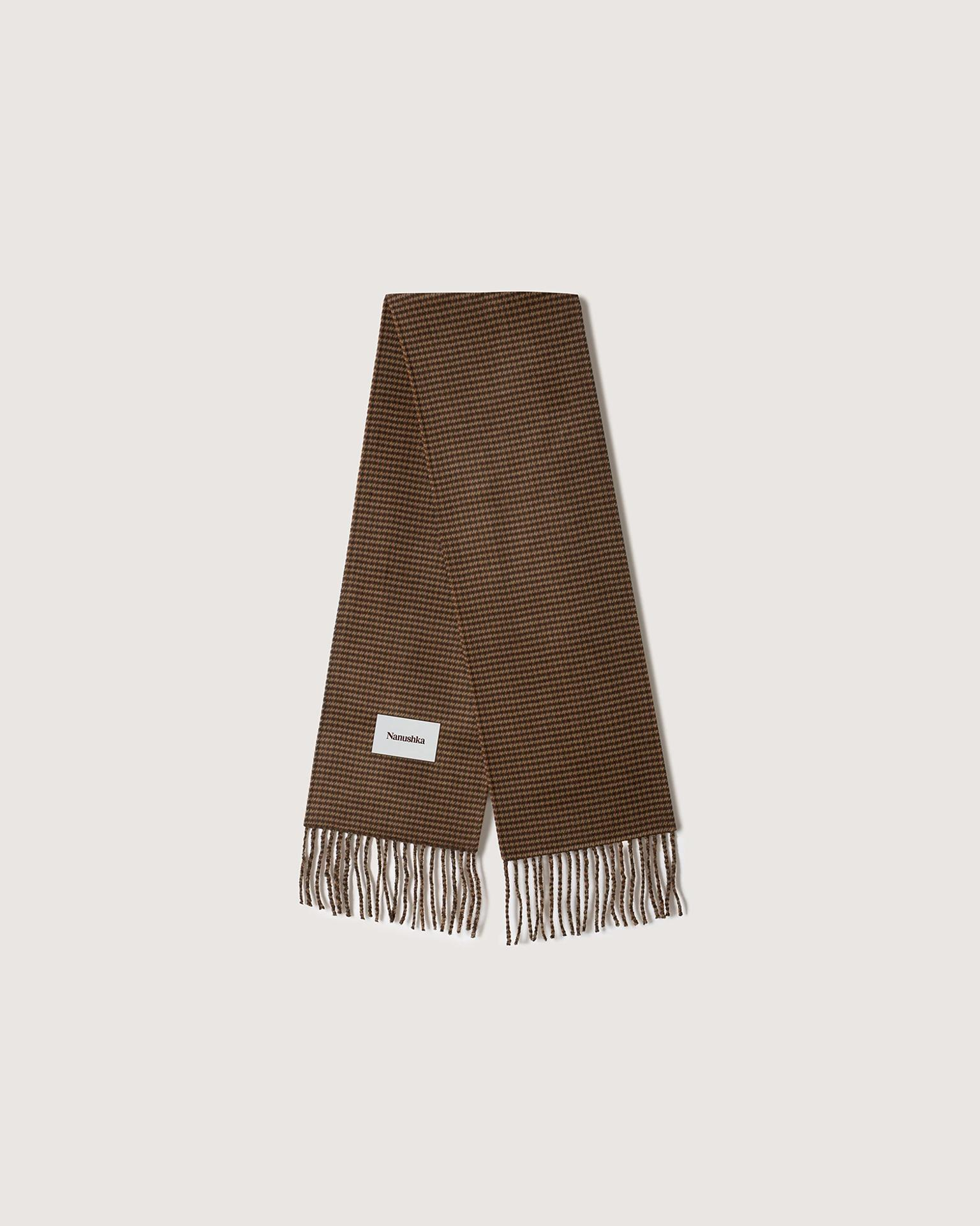 SIDELL - Fringed wool and silk-blend scarf - Rust gray
