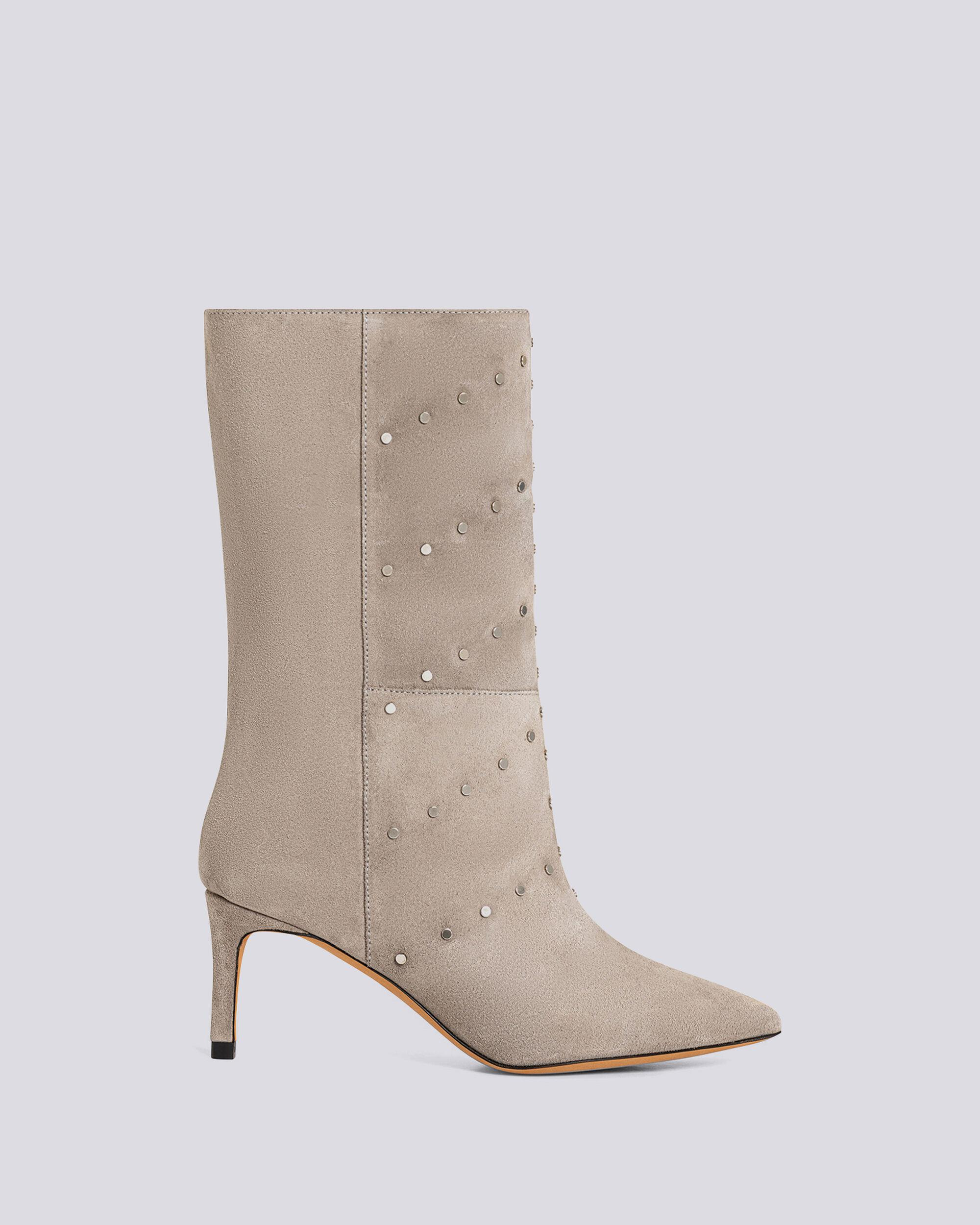 MILOW STUDDED SUEDE SLOUCH BOOTS