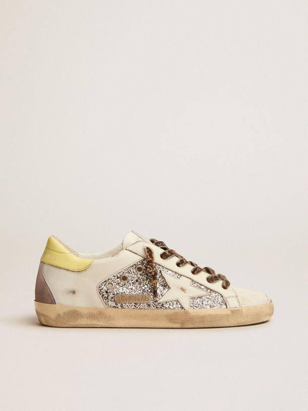 LTD Super-Star Sneakers in leather and glitter with colorful heel tab