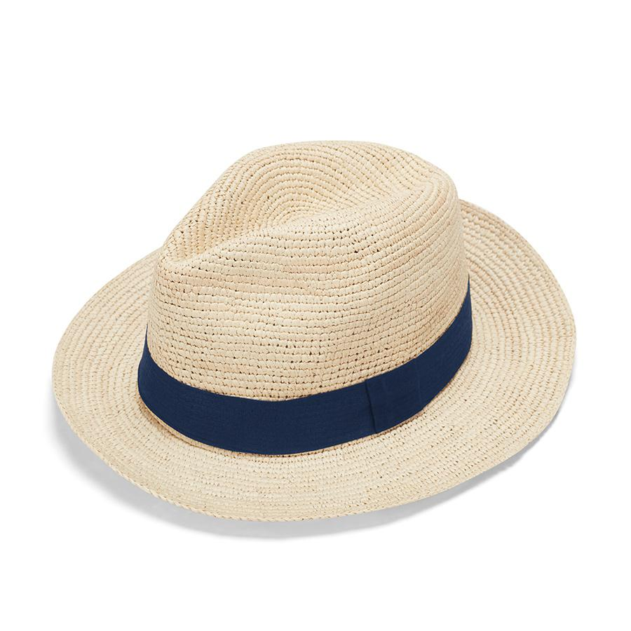 Women's Folding Panama Hat in Natural/Navy | Size: