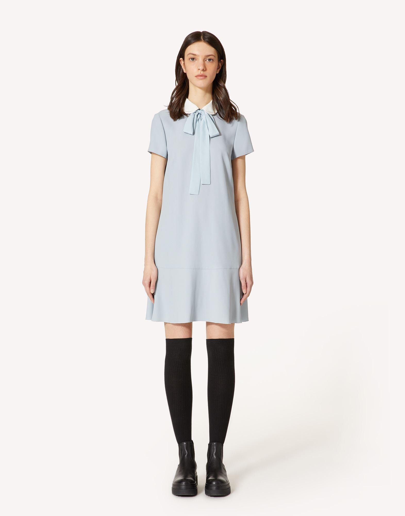 CREPE ENVERS SATIN DRESS WITH COLLAR