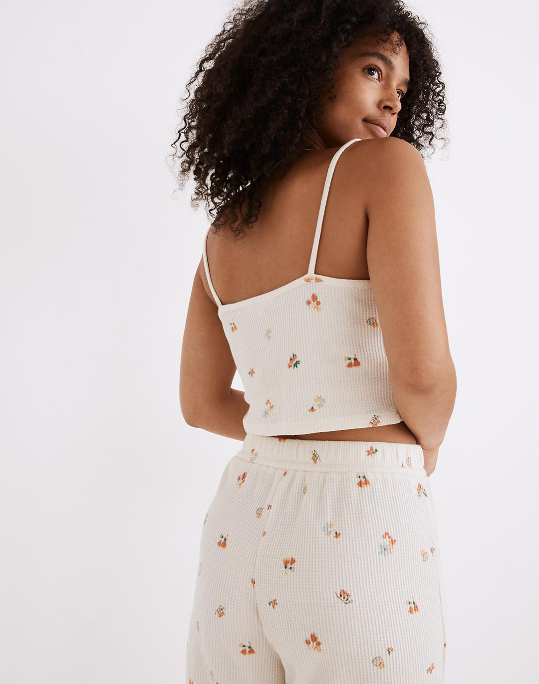 Waffle Knit Pajama Crop Cami in Floral Reef 2