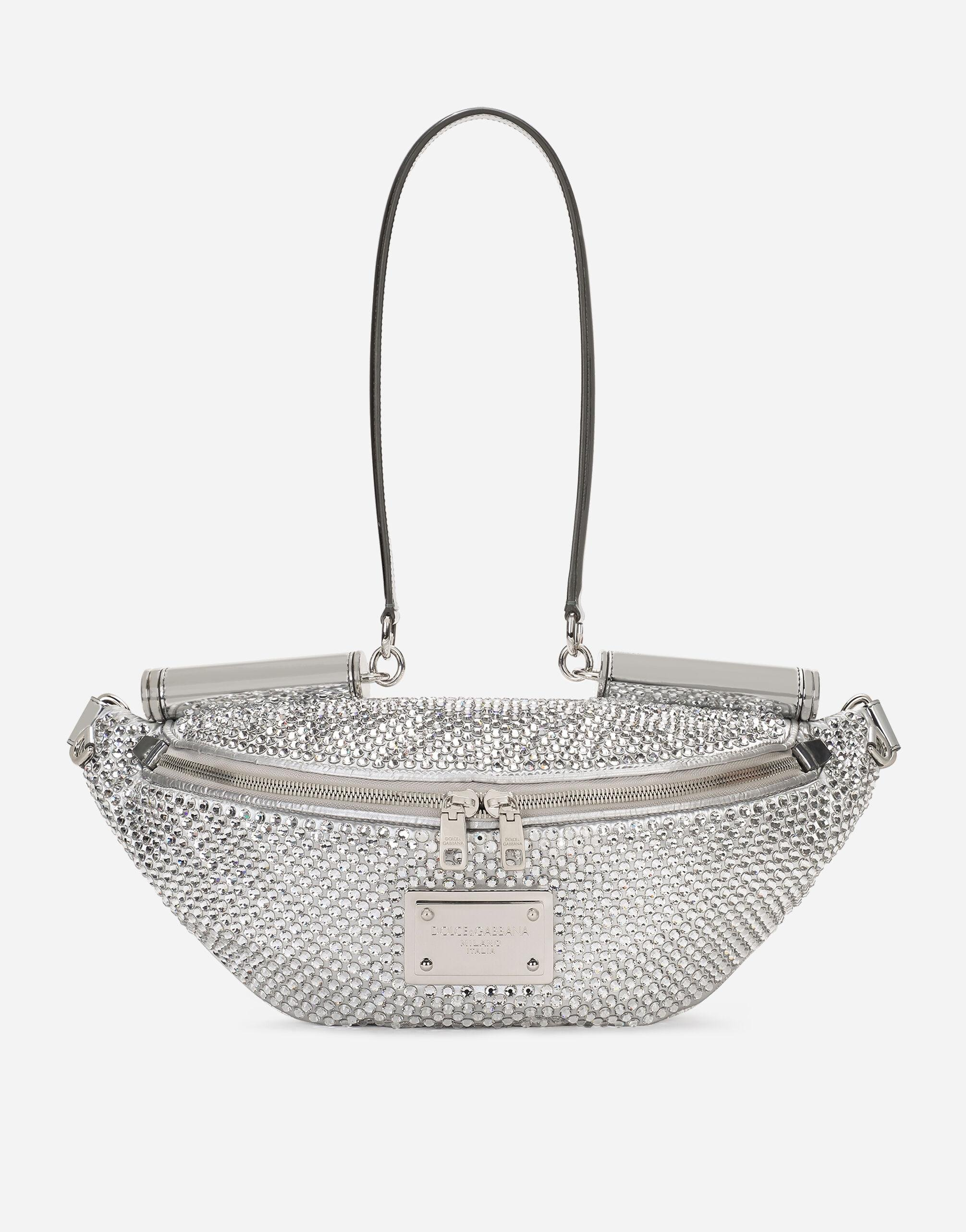 Small down-padded 90es Sicily belt bag with fusible rhinestones and branded plate