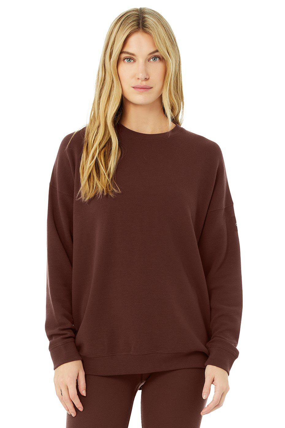 Micro Waffle Relaxation Pullover - Cherry Cola