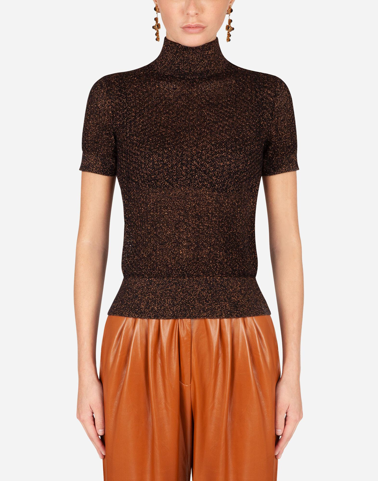 Wool and lurex turtle-neck sweater