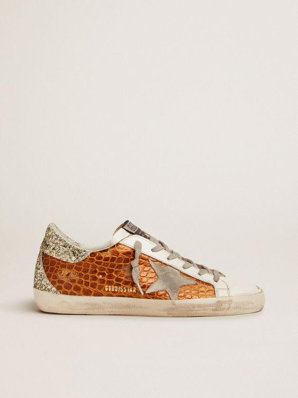 Super-Star sneakers in brown crocodile-print leather with light green glitter