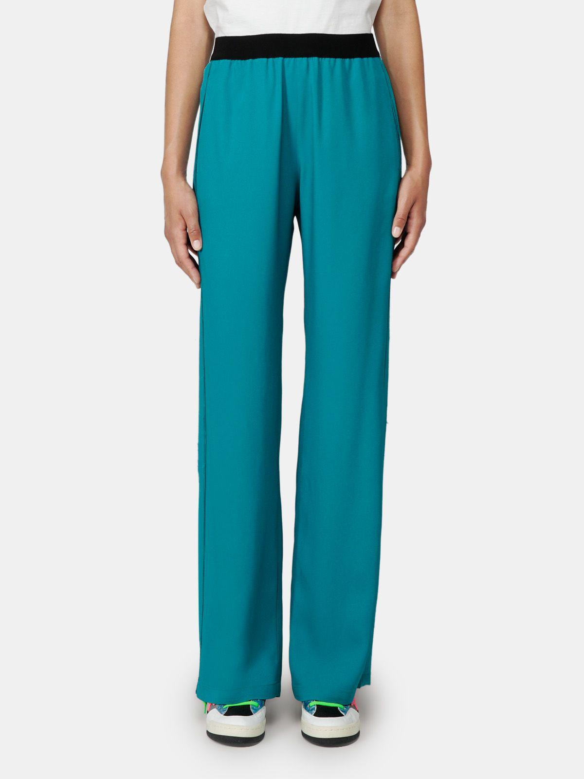Petrol green Amarilli trousers with a relaxed fit