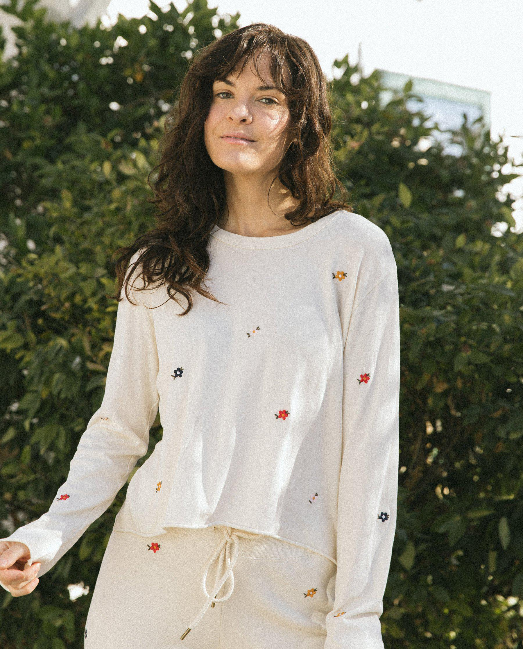 The Long Sleeve Crop Tee. -- Washed White with Seed Floral Embroidery