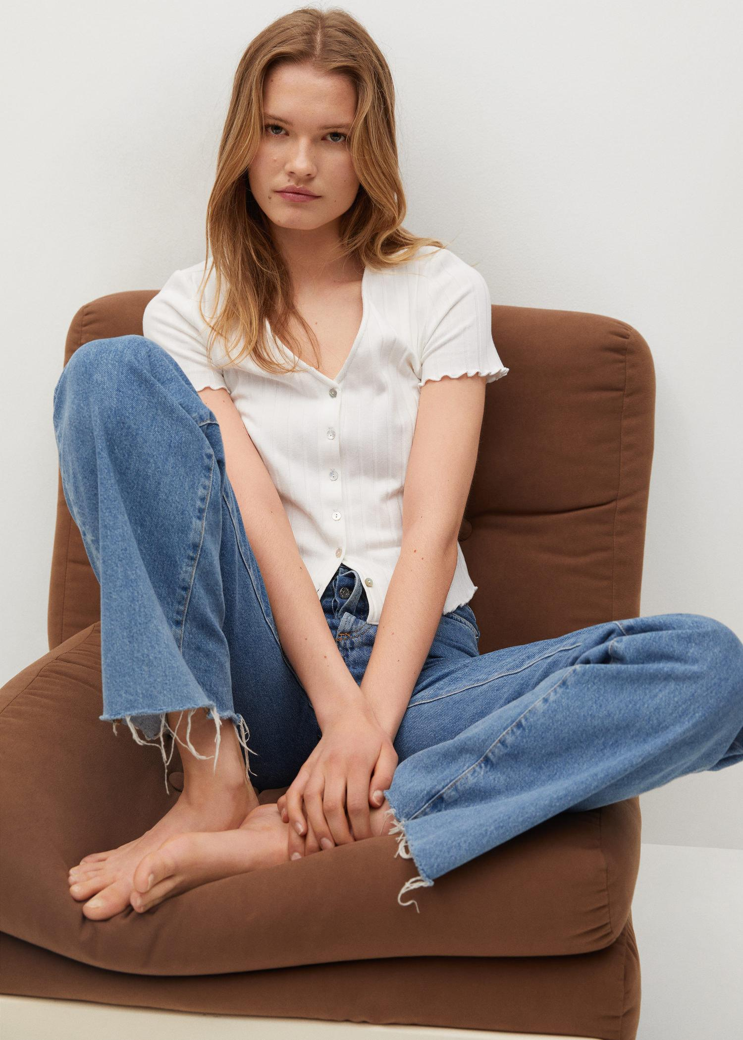 Buttoned ribbed t-shirt 4