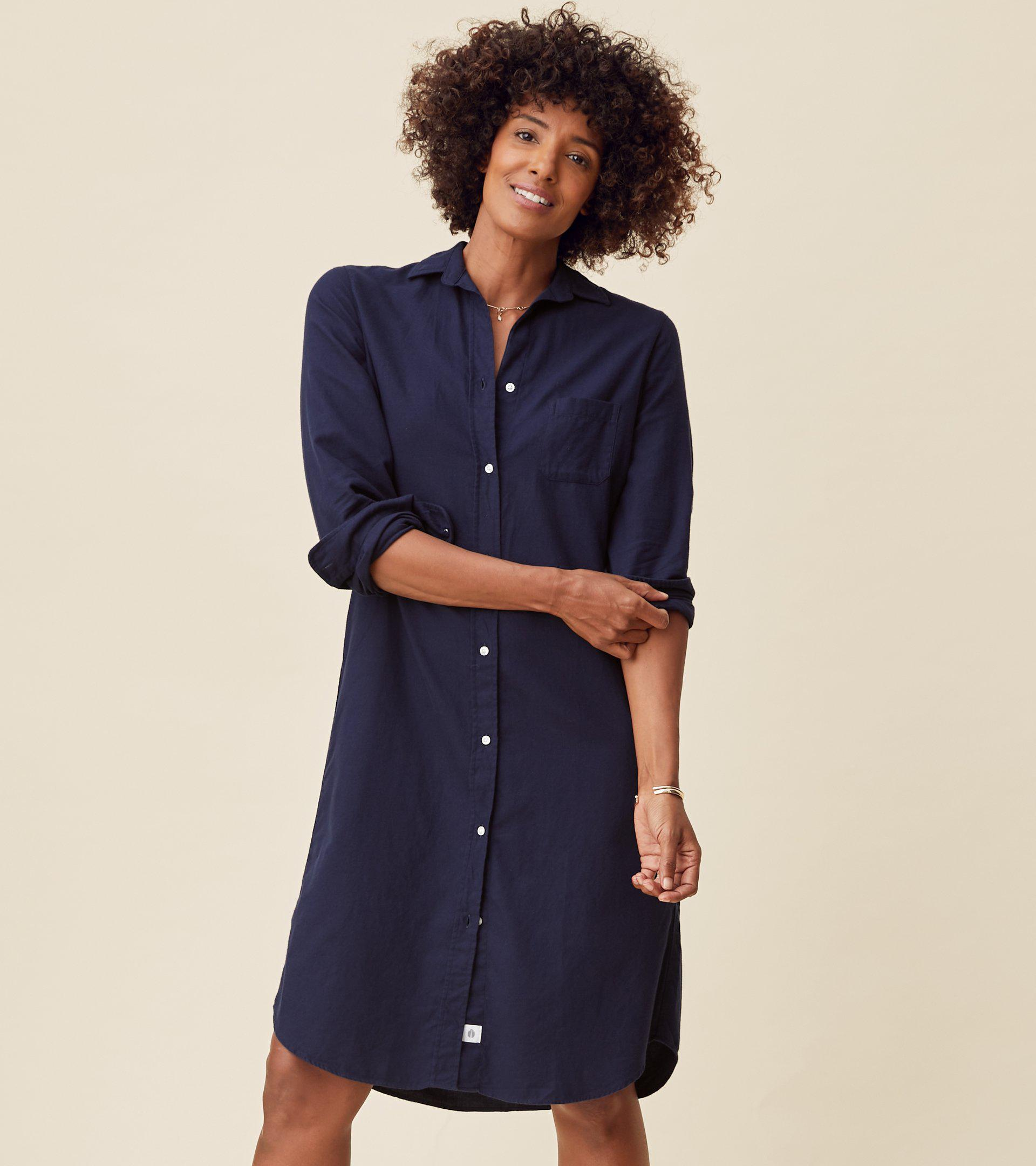 The Hero Midi Dress Navy, Feathered Flannel