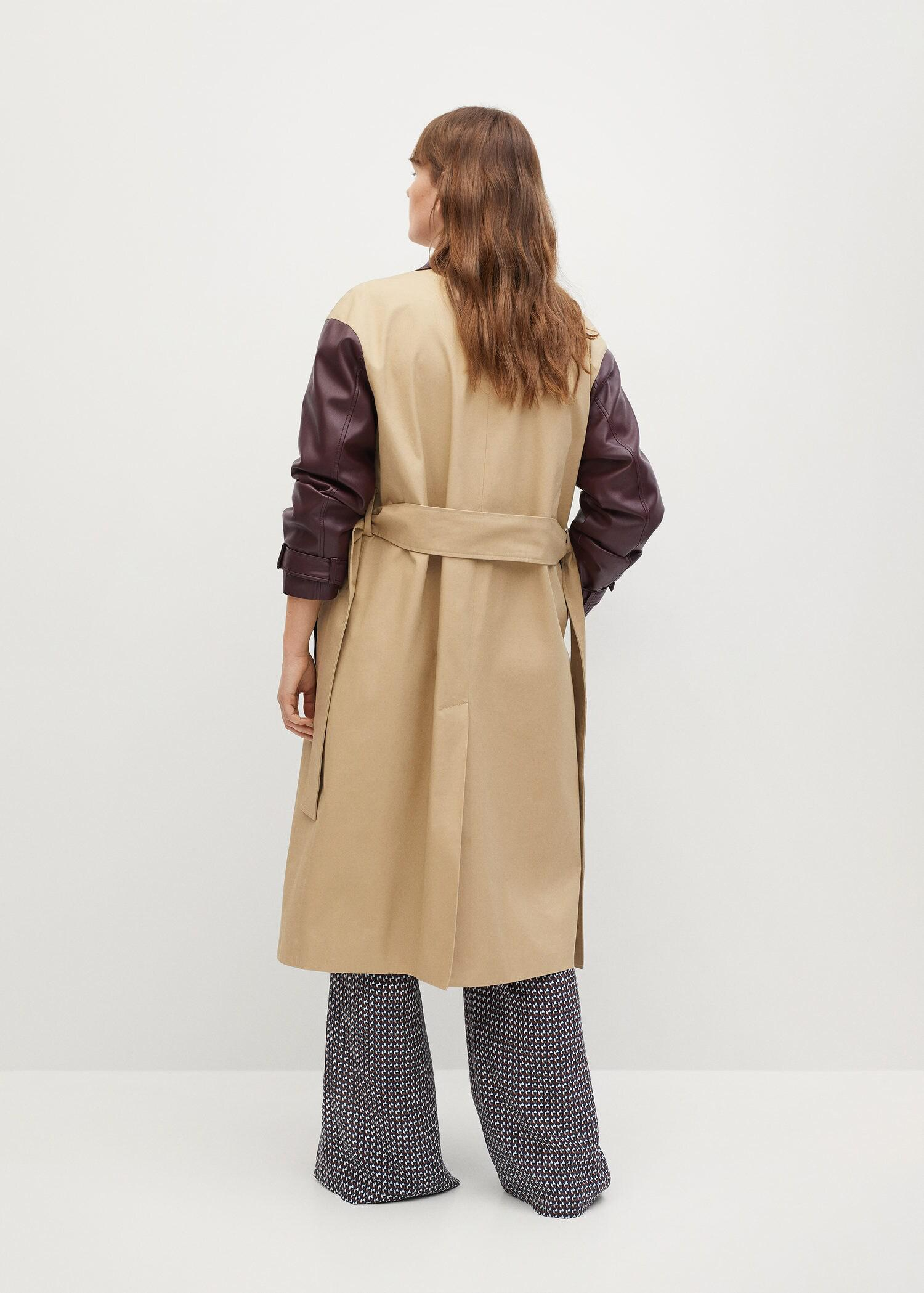 Combined leather-effect trench coat 2