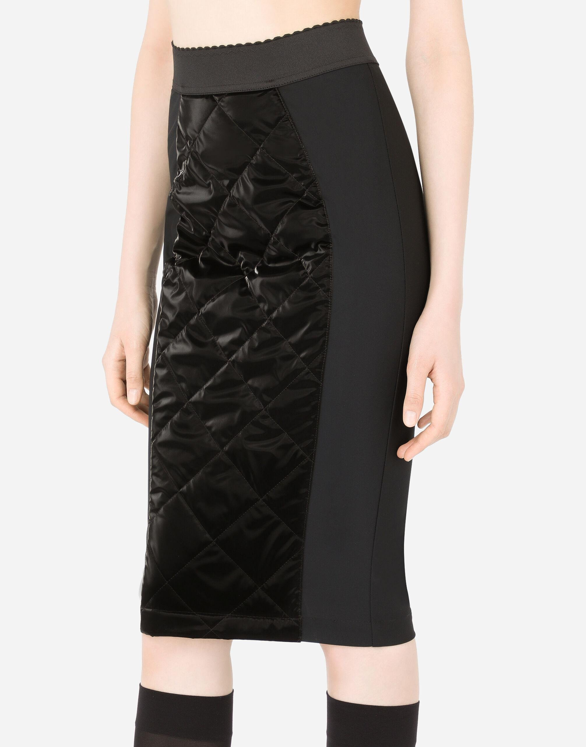 Coated quilted fabric midi skirt 2