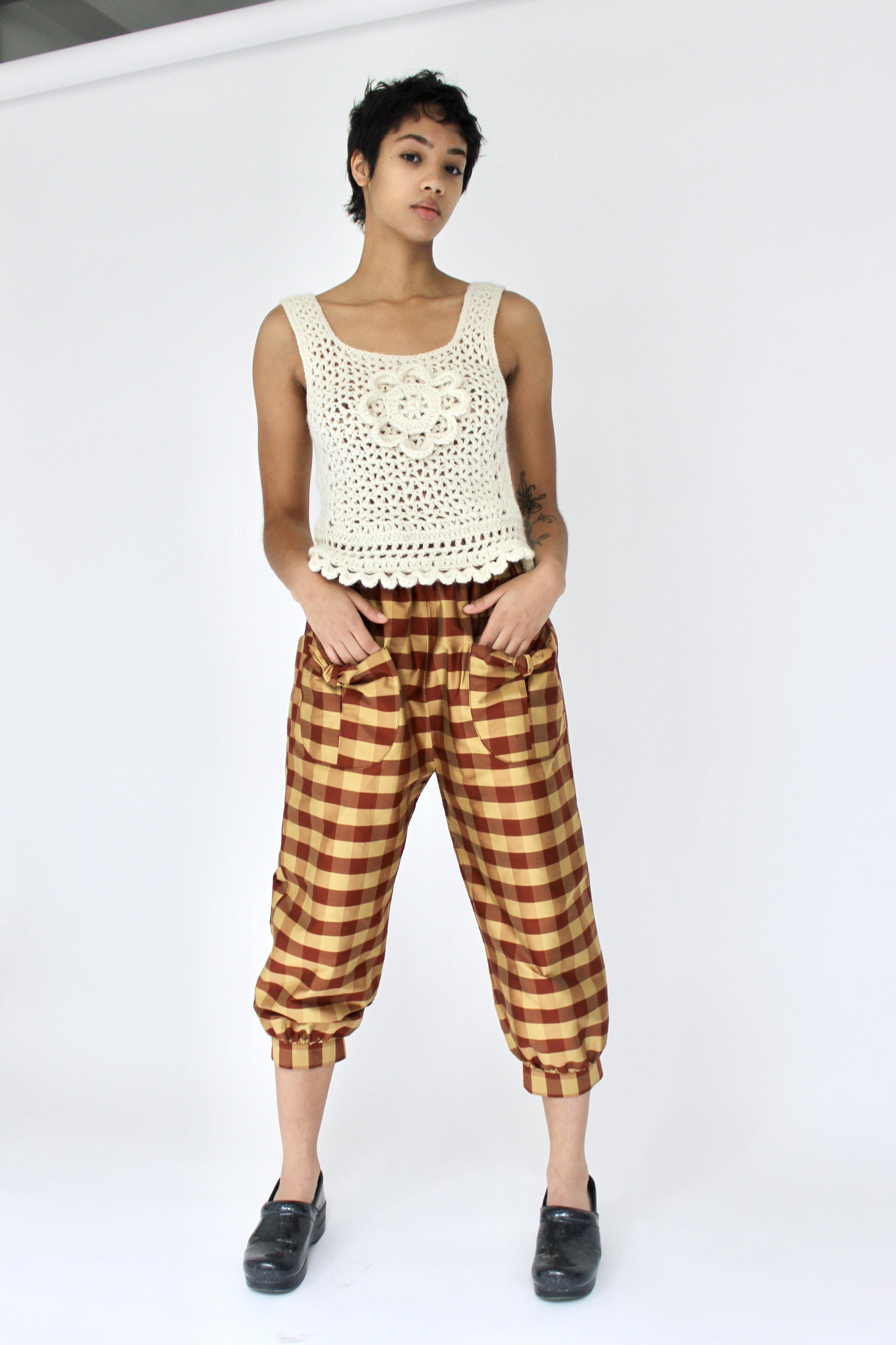 Tie Pant in Rust and Gold Gingham Silk Shantung 1