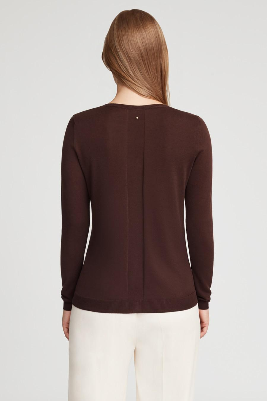 Women's Classic Cotton Cashmere V-Neck Sweater in Chocolate | Size: 2