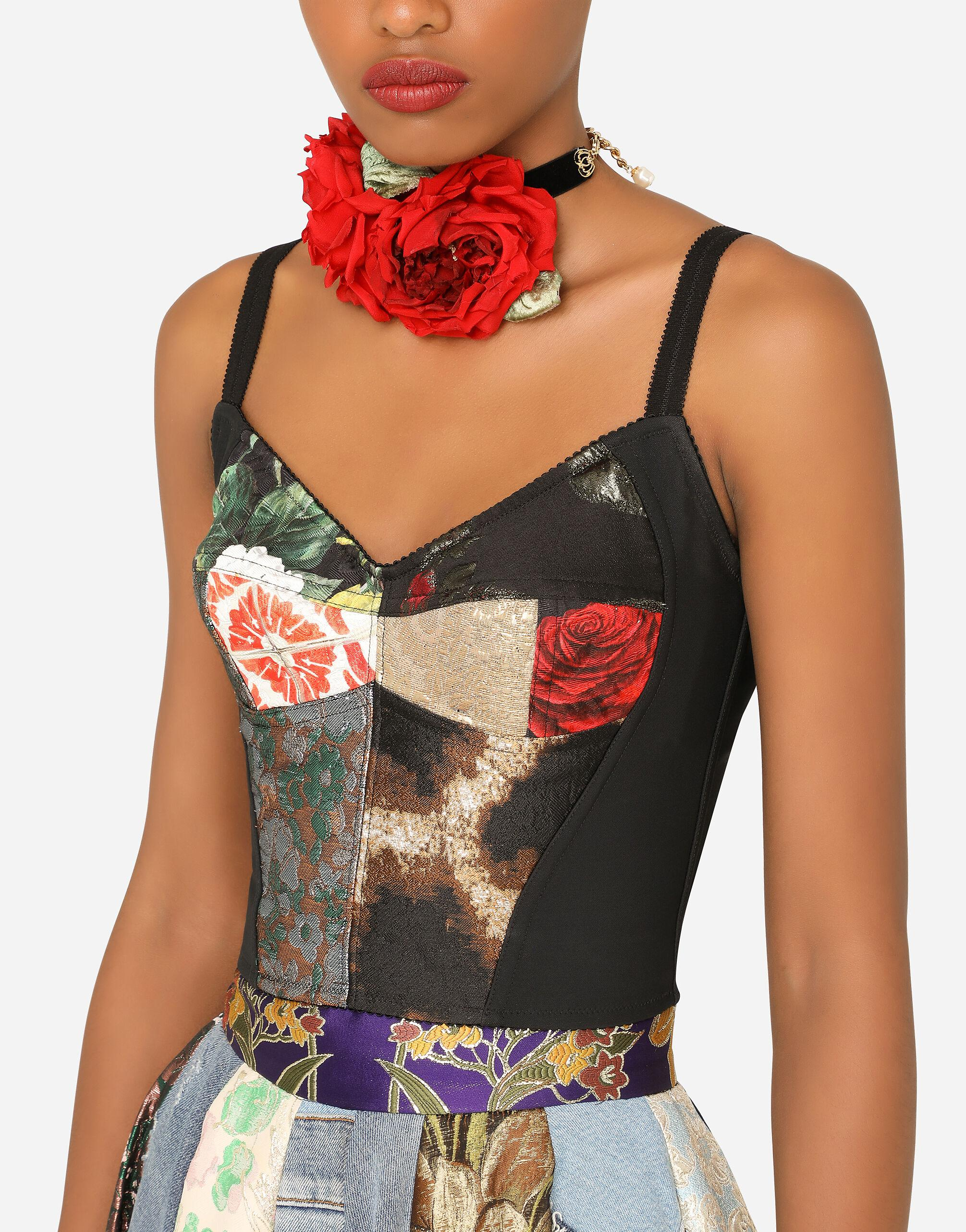 Patchwork brocade and jacquard bustier top 2
