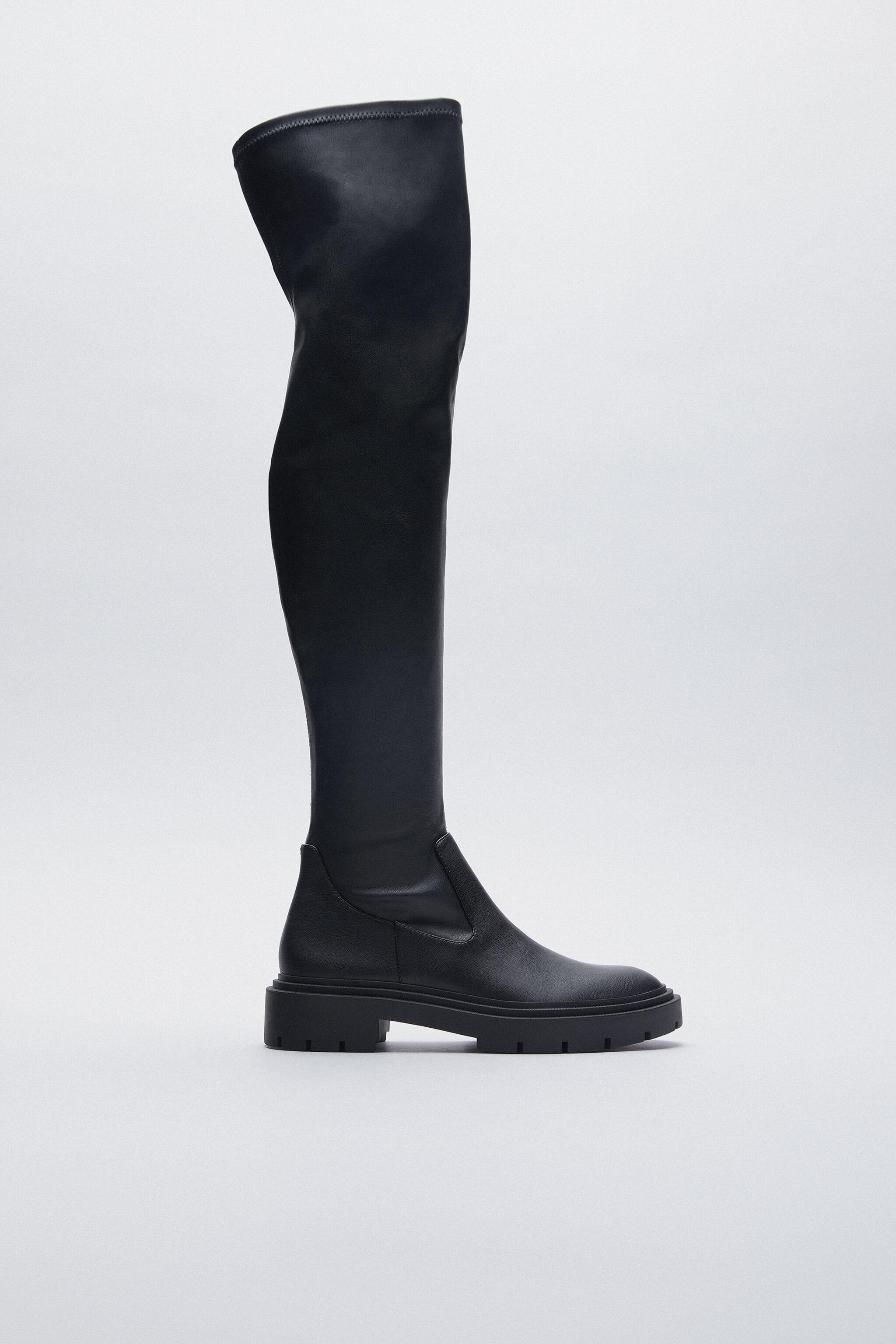 LOW HEELED STRETCH TALL BOOTS TRF