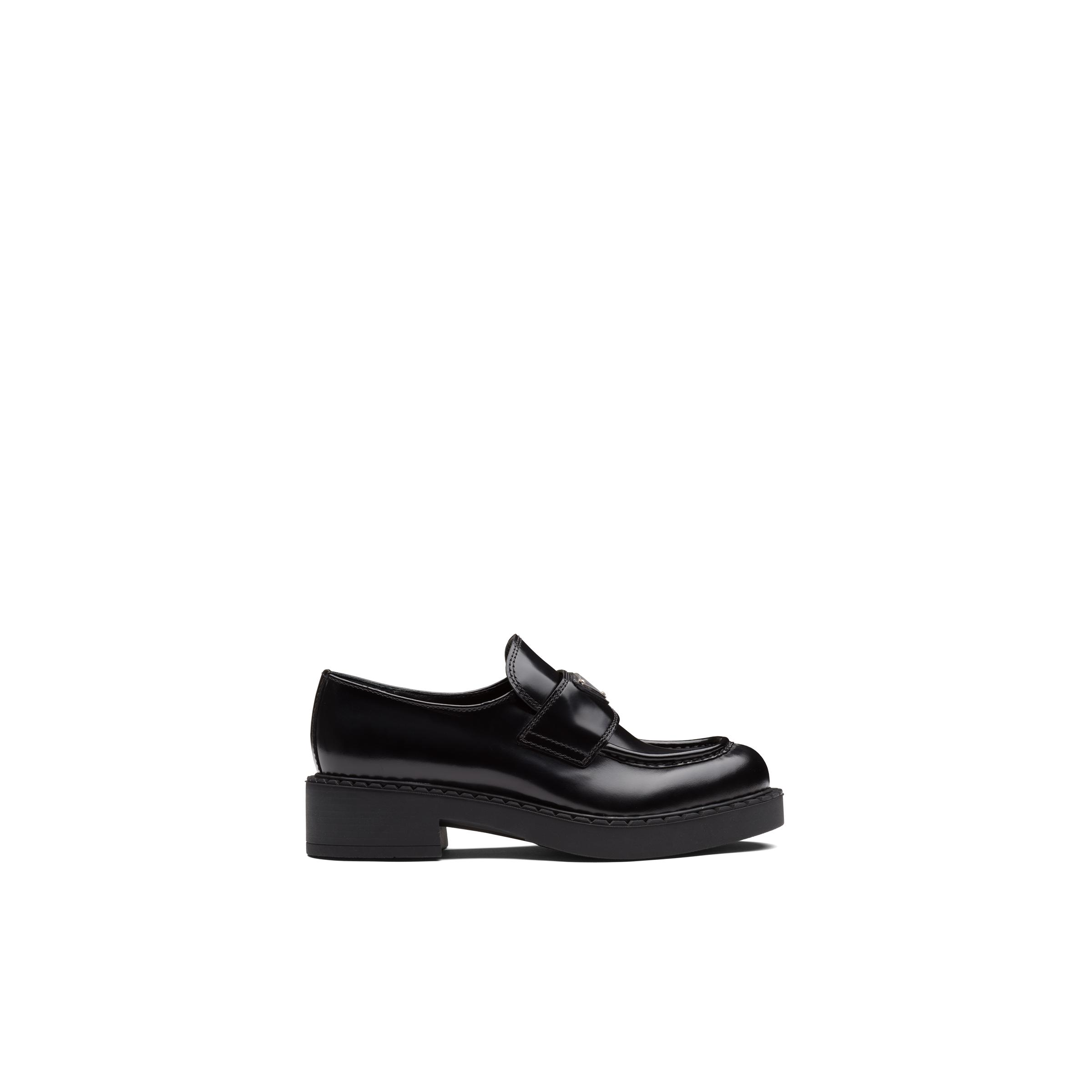 Brushed Leather Loafers Women Black 2