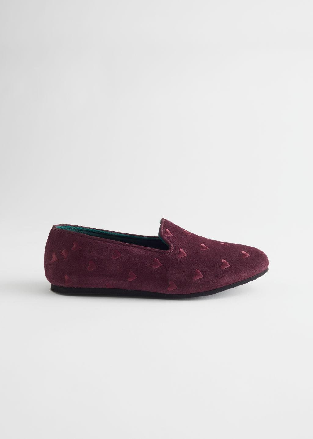 Embroidered Heart Loafer Slippers