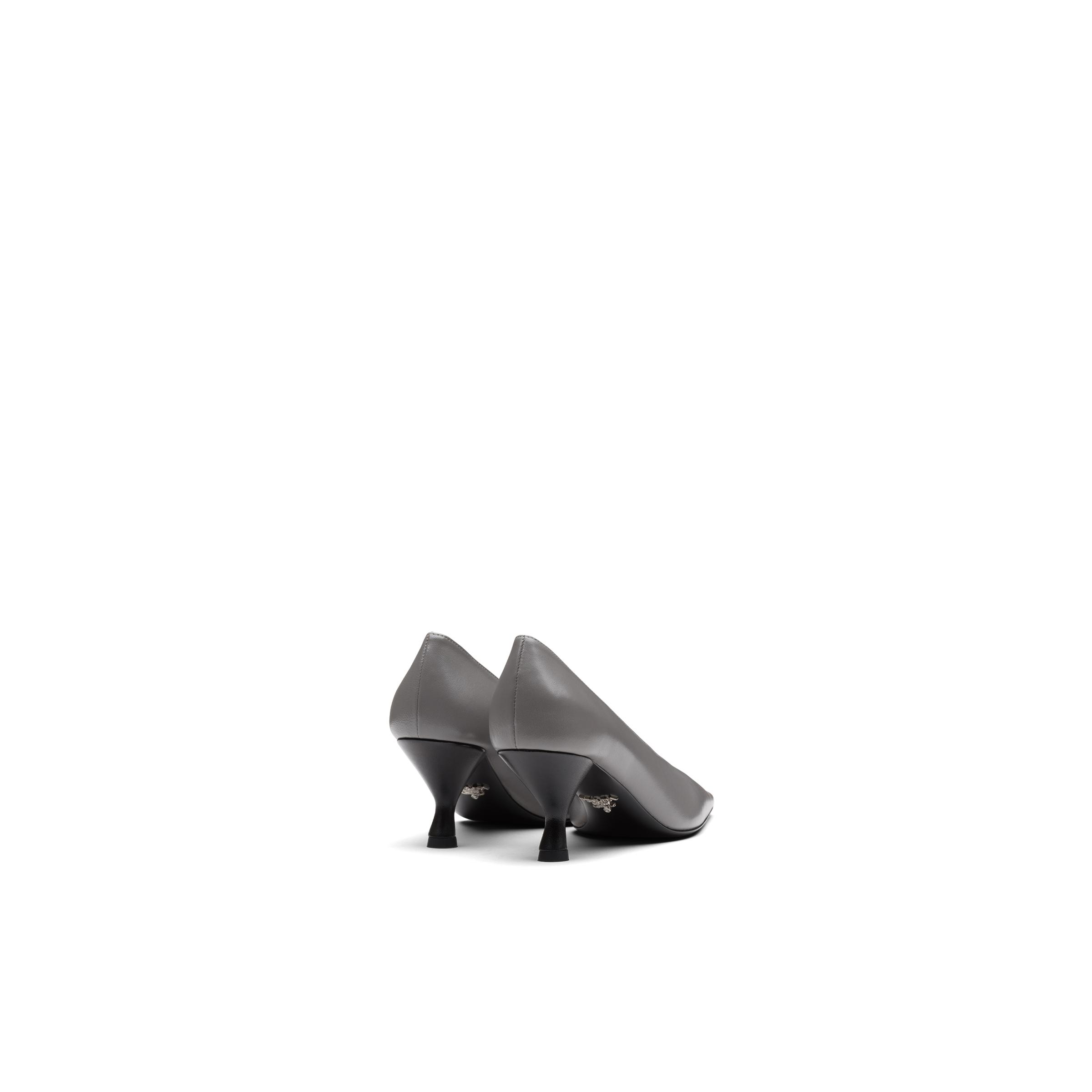 Pointy Toe Nappa Leather Pump With Medium Heel Women Marble Gray 3
