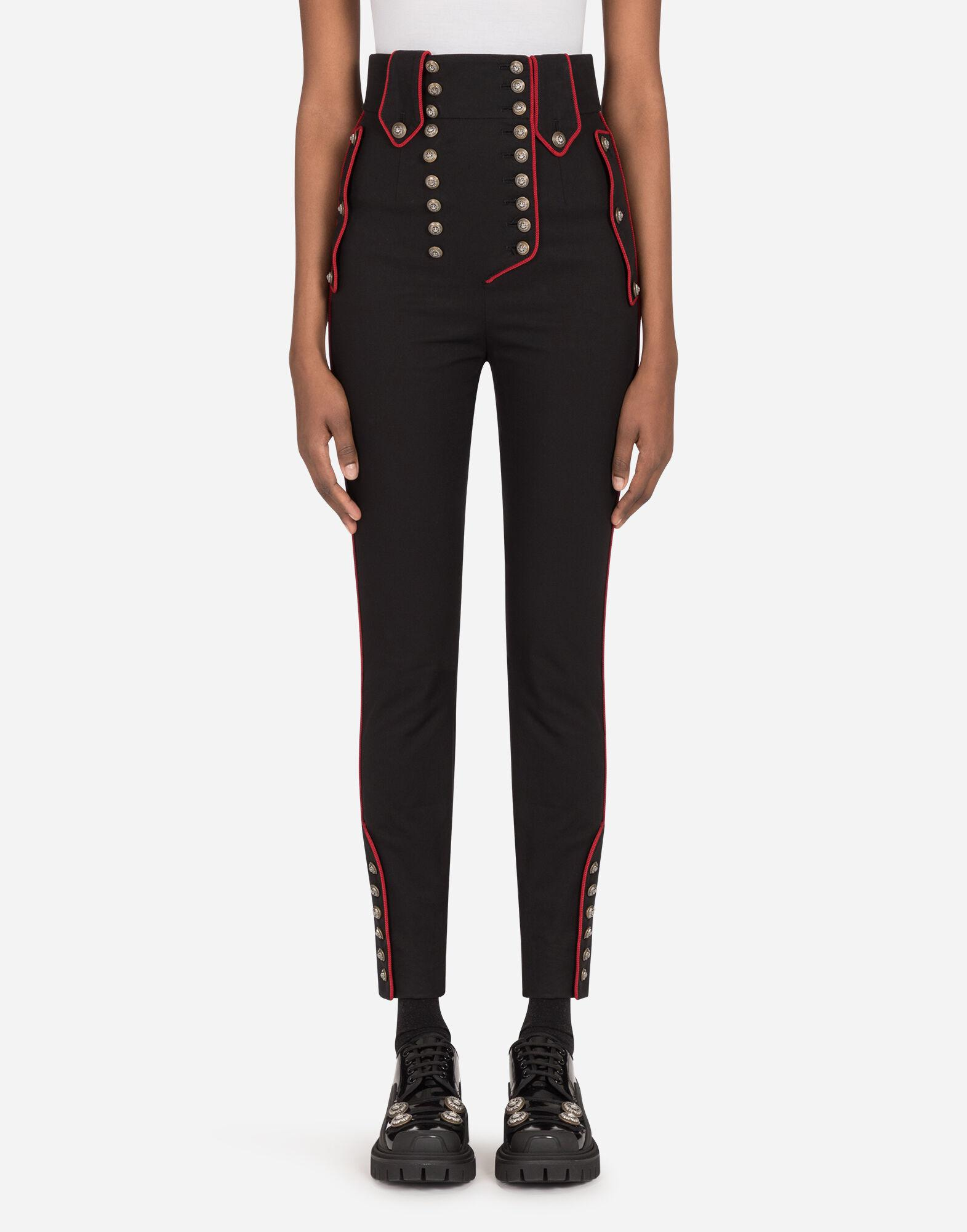 High-waisted cotton pants with military details