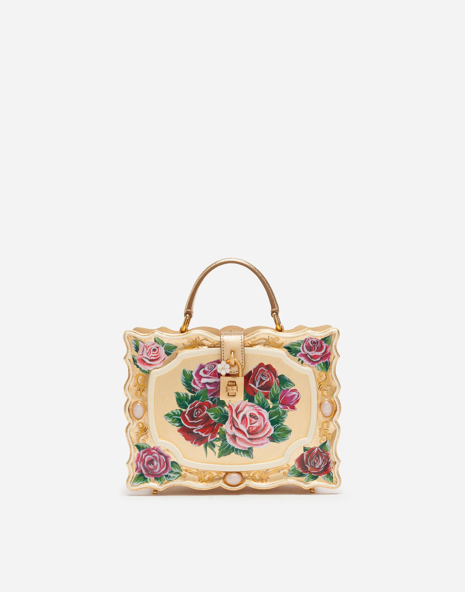 Dolce Box bag in golden hand-painted wood