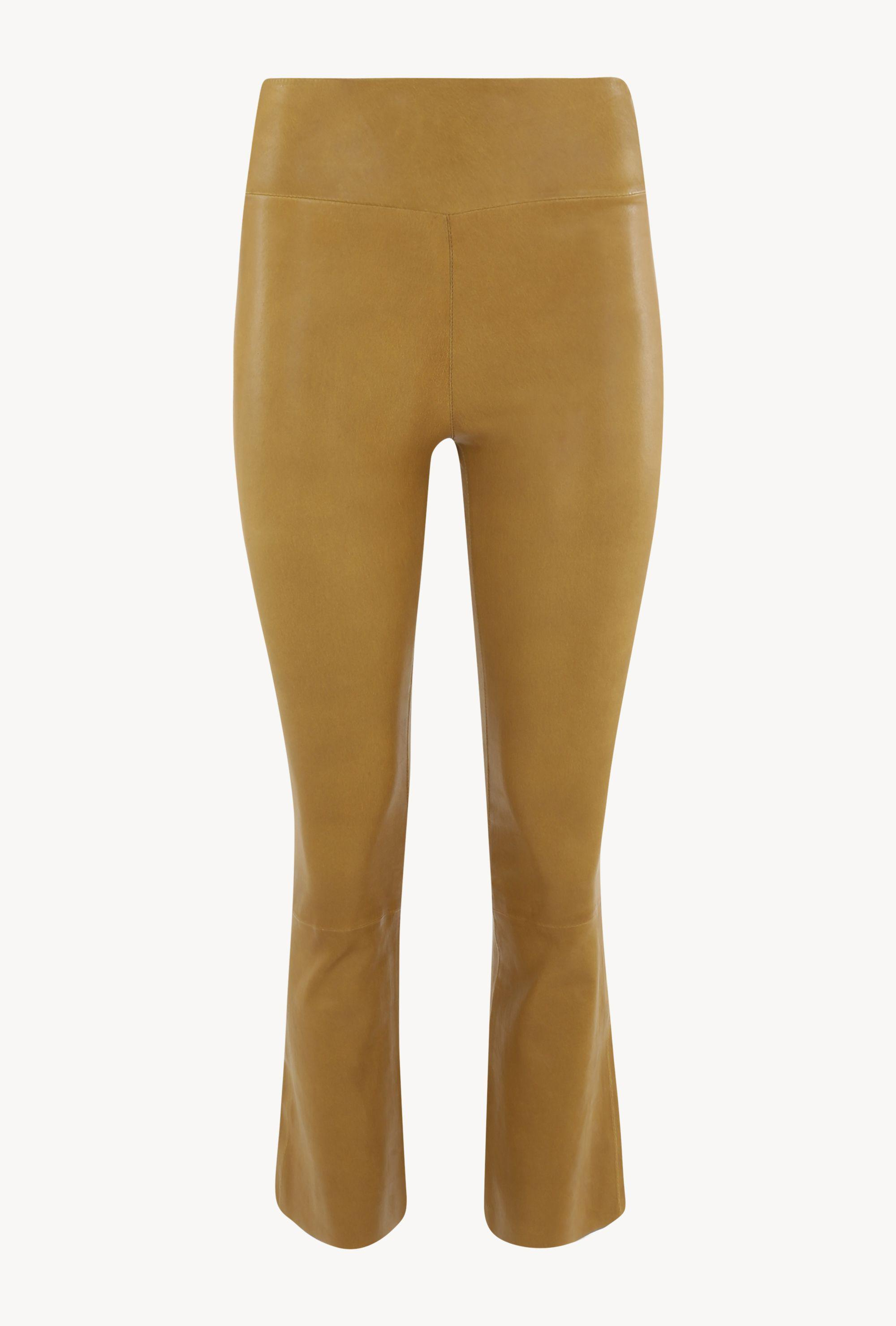 Moss Gold Leather Crop Flare Leggings