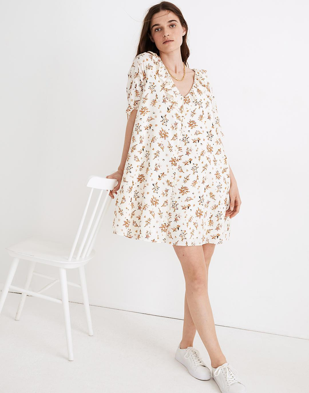 Ruffle Button-Front Trapeze Dress in Floral Reef