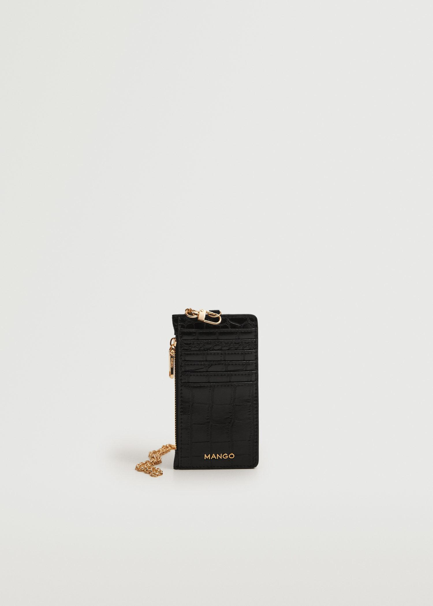 Croc-effect cardholder with chain