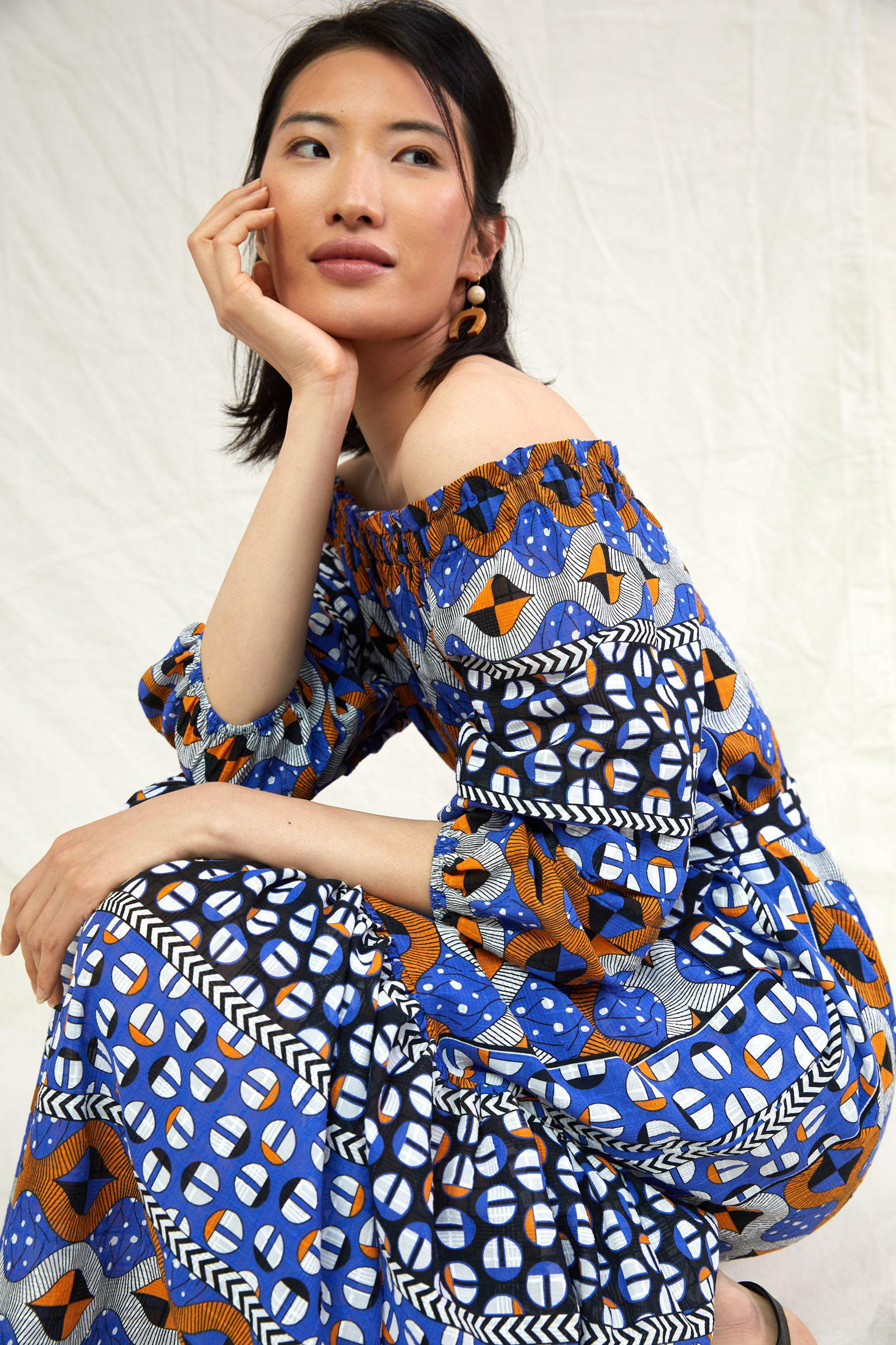 Abstract Flounced Off-The-Shoulder Maxi Dress