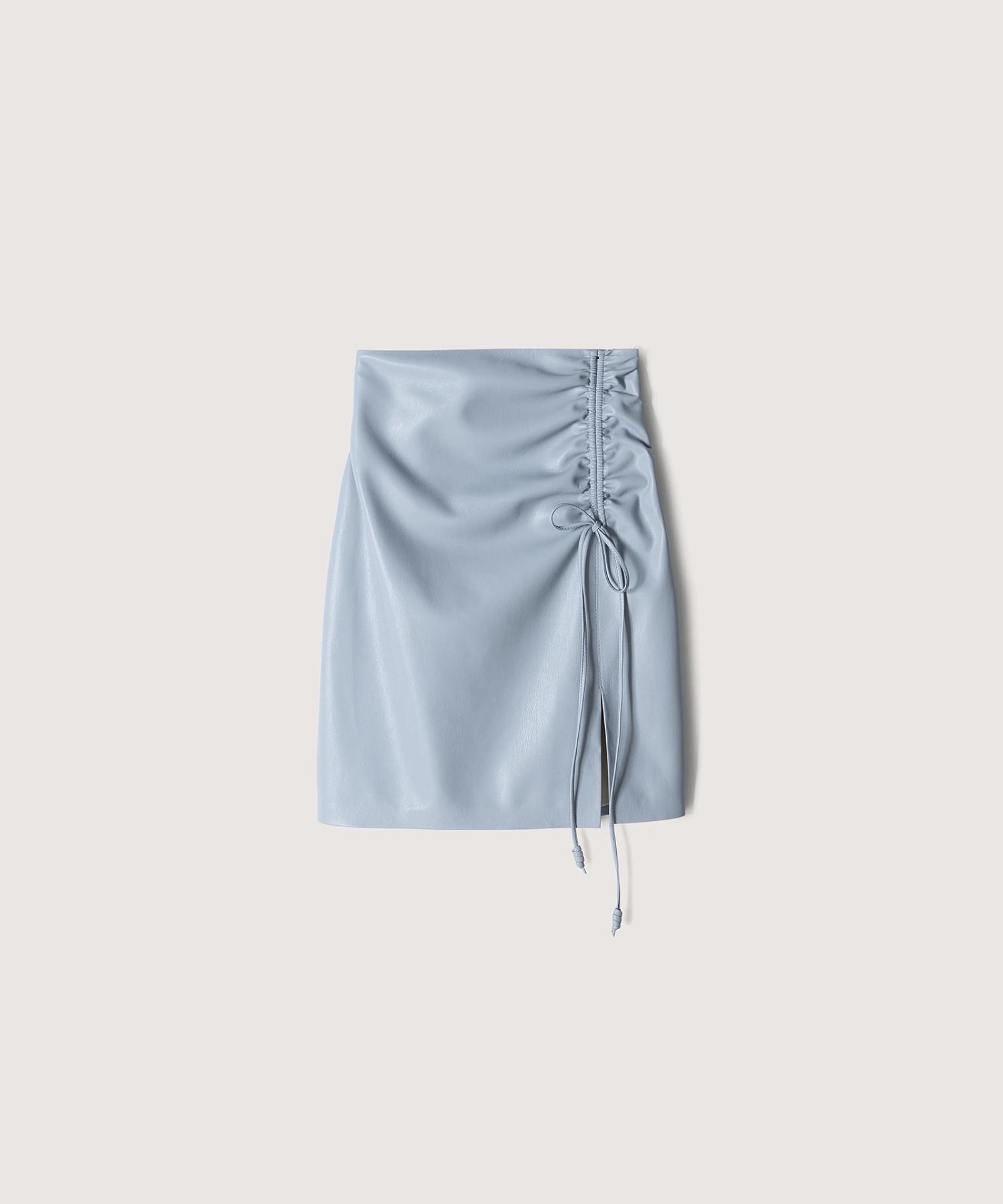 ZOW - Ruched vegan leather mini skirt - Dusty blue