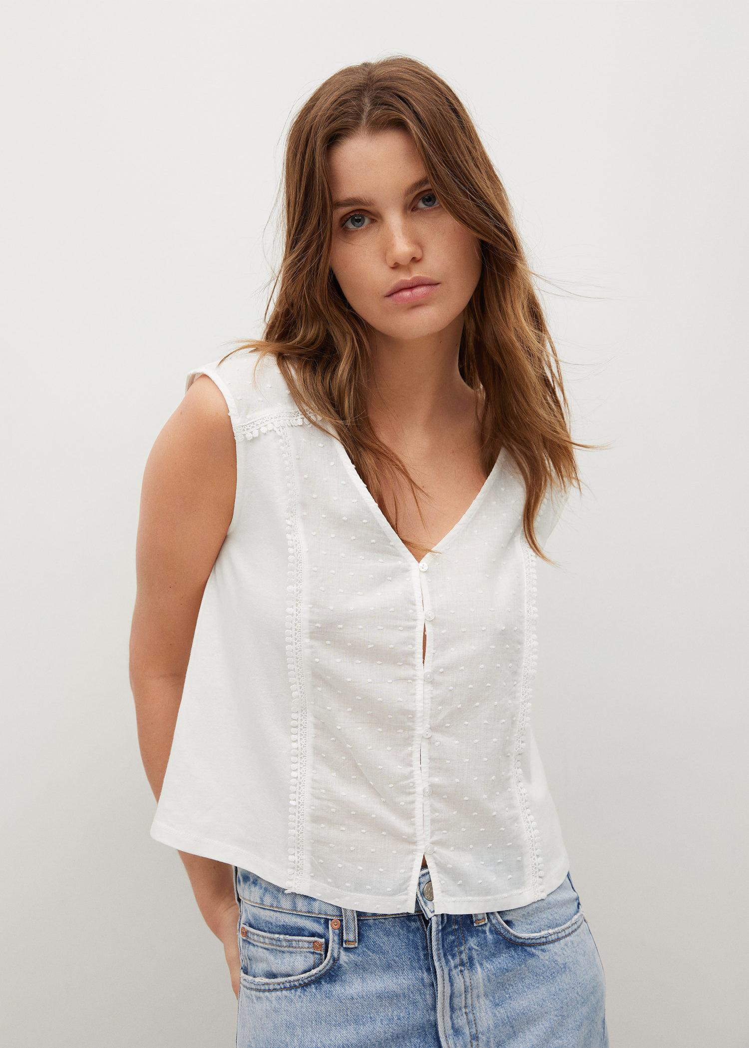 Dotted swiss cotton top