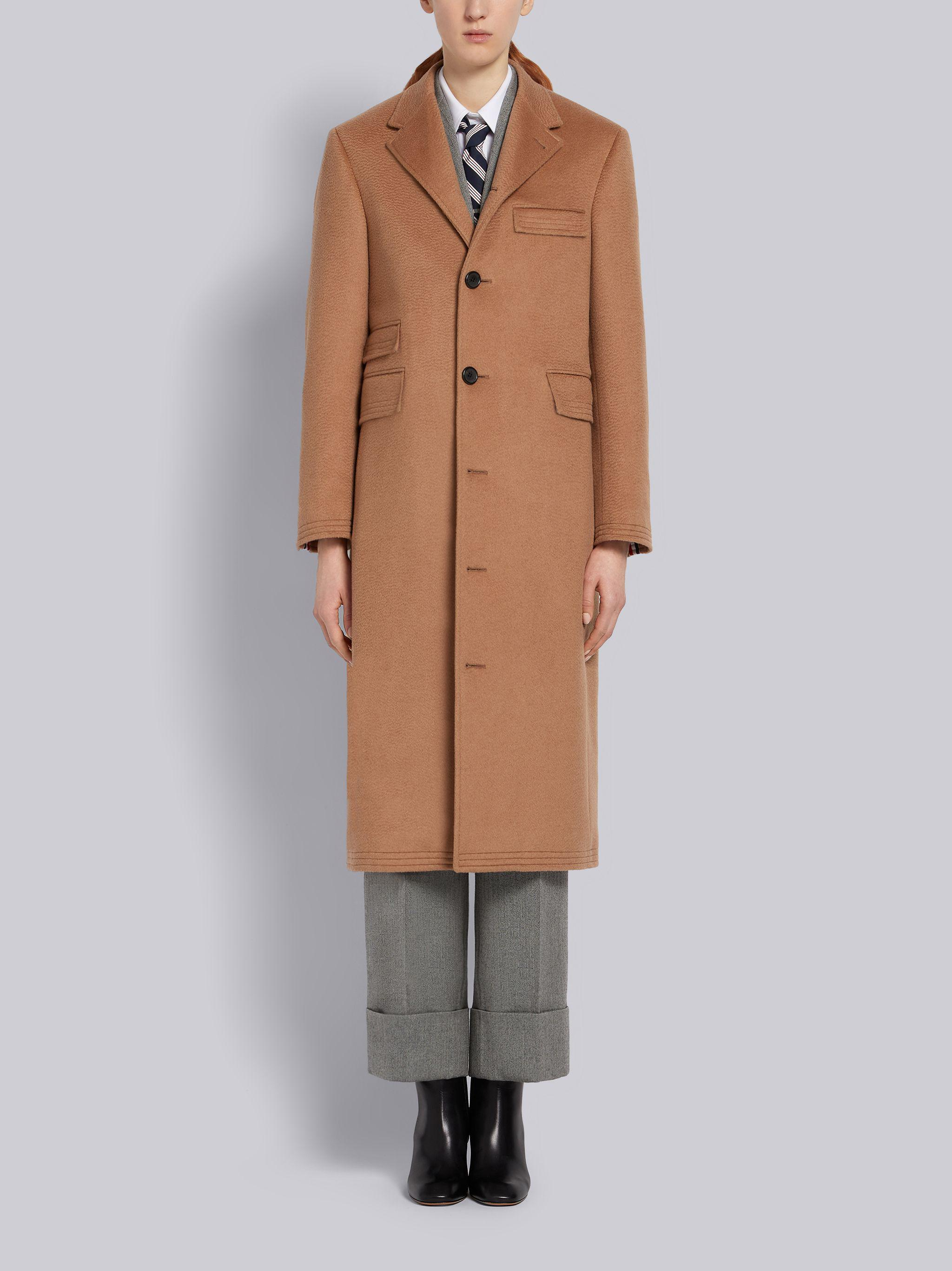 Natural Baby Camel Hair Ticket Pocket Long Chesterfield Overcoat