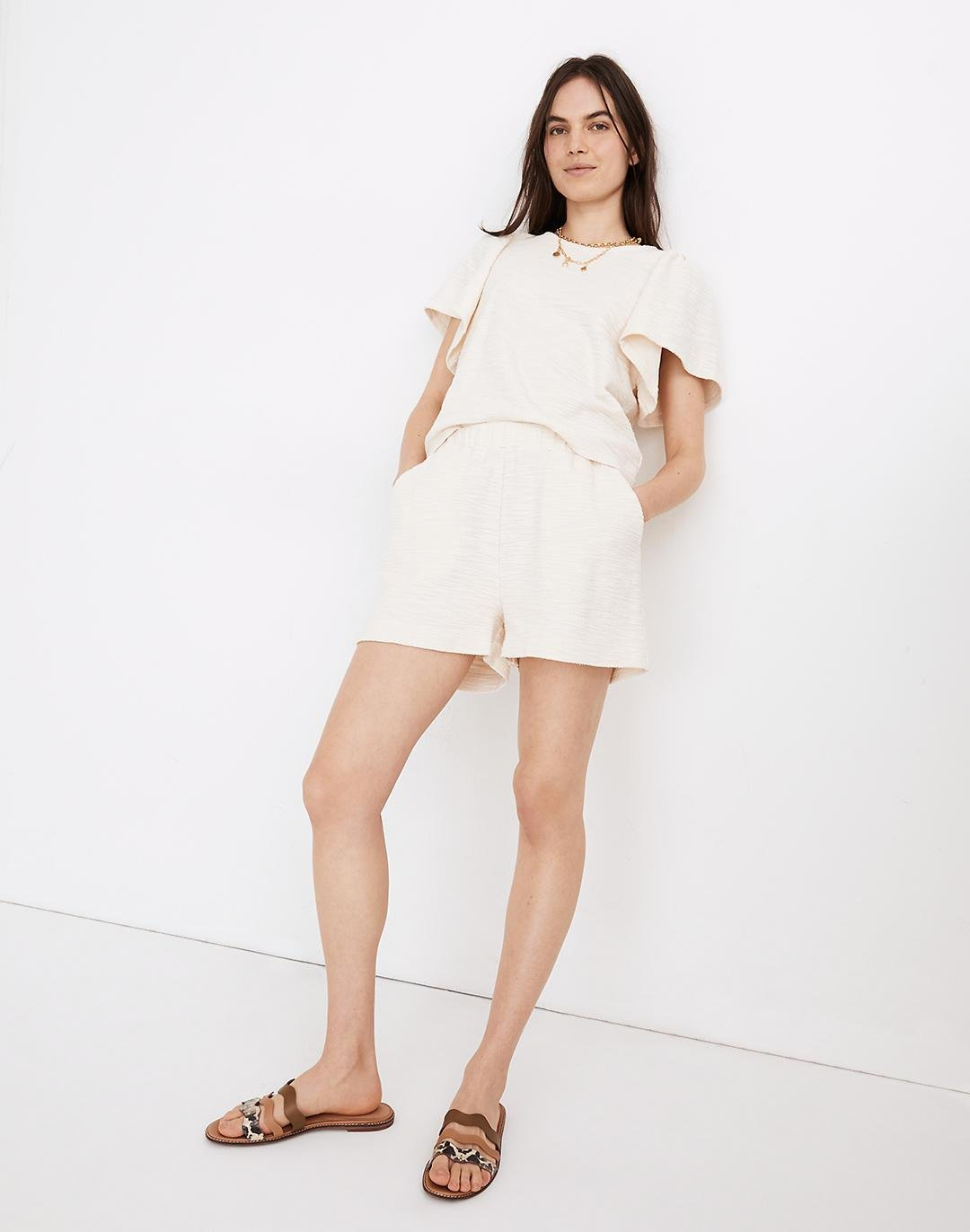 Knit High-Rise Pleated Shorts